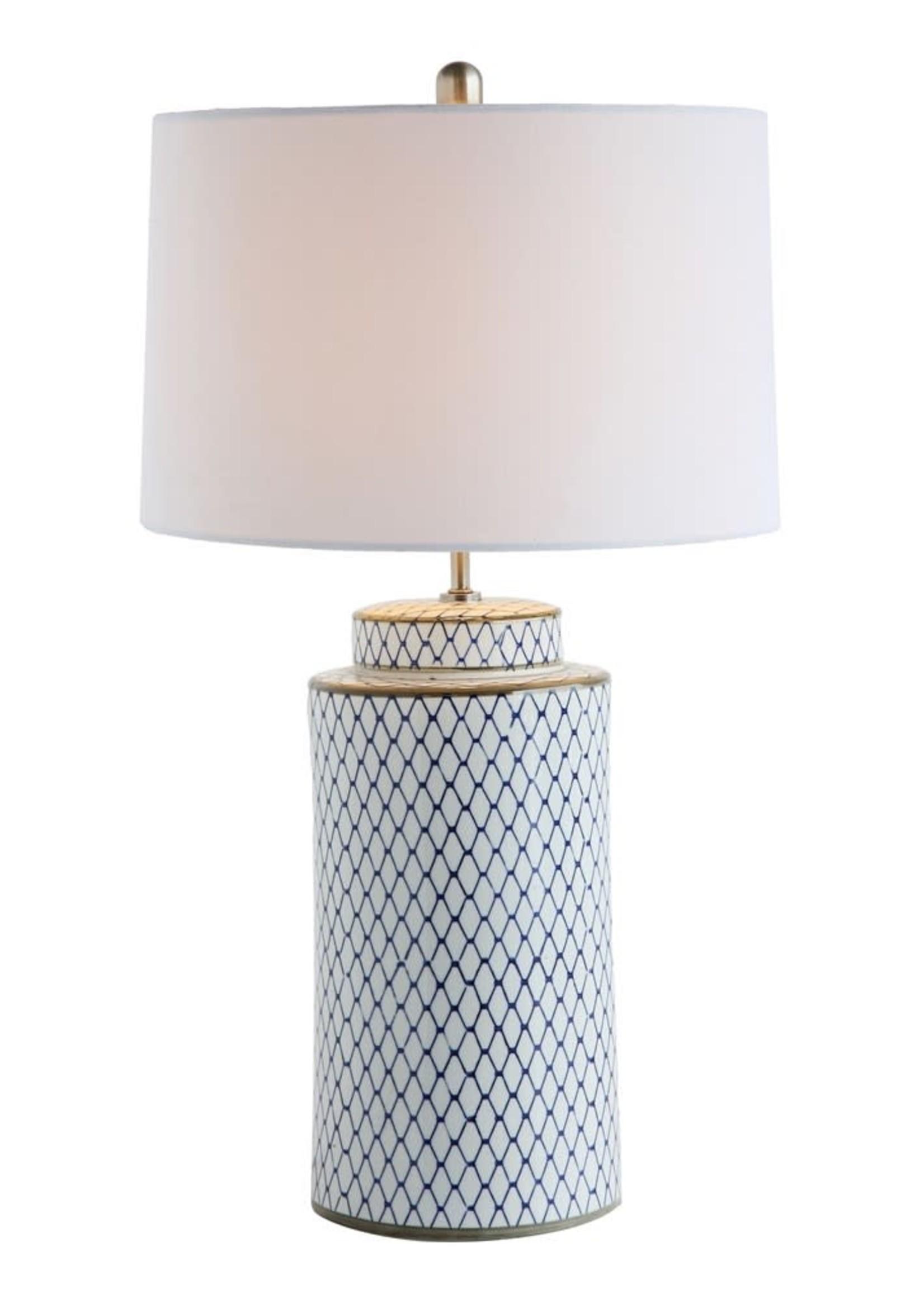 Ceramic Table Lamp w/ Linen Shade, Indigo & White