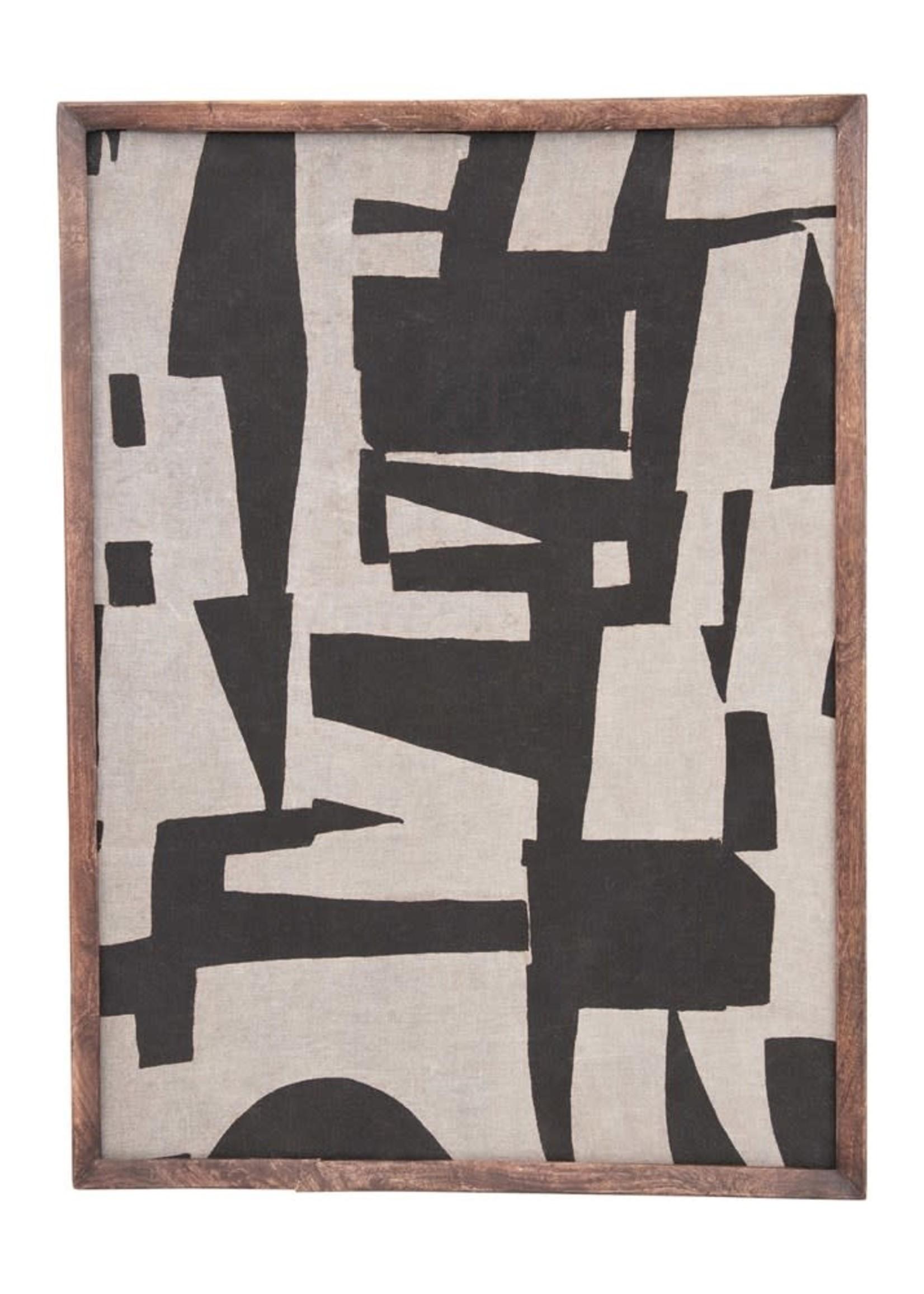 Mango Wood Framed Cotton Fabric Wall Decor w/ Abstract Print, Black & Cream Color