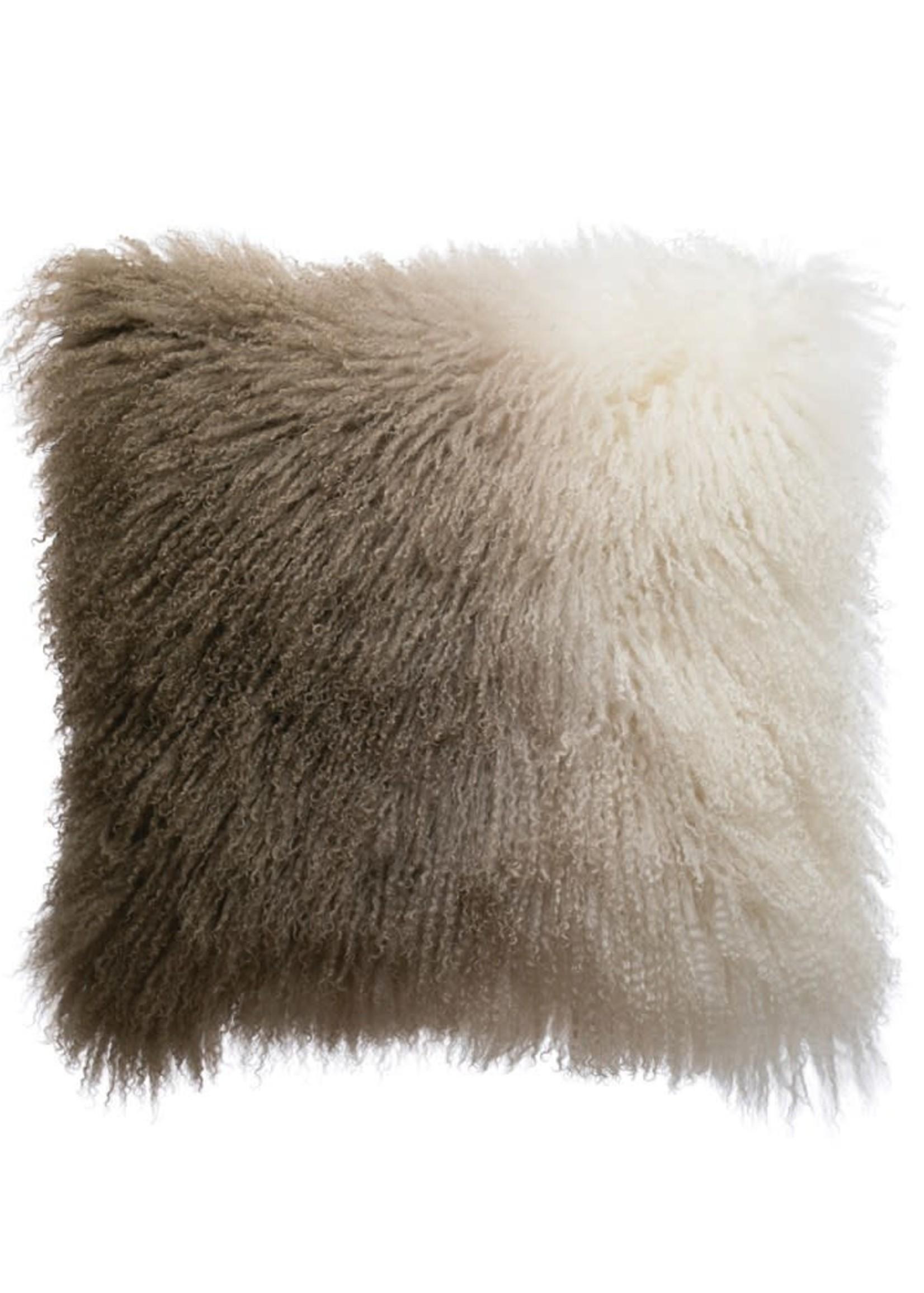Square Mongolian Lamb Fur Dip Dyed Pillow, Natural & Charcoal Color