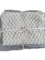 Cotton Stitched Bed Cover w/ 2 Patterned King Shams, King, Cream & Grey, Set of 3