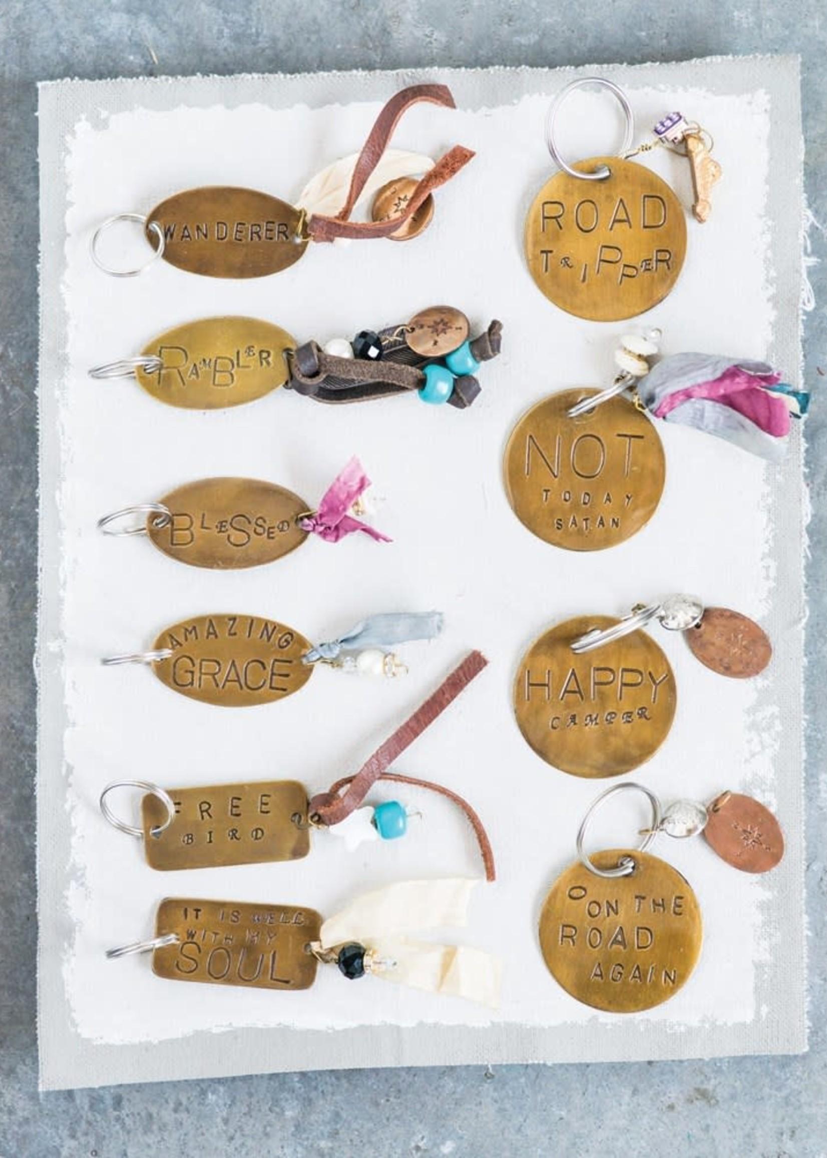 """2""""L Brass Key Chain w Jewel, Ribbon and Saying"""