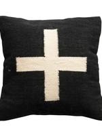 "20"" Square Wool Blend Pillow w/ Swiss Cross, Black & Cream Color"