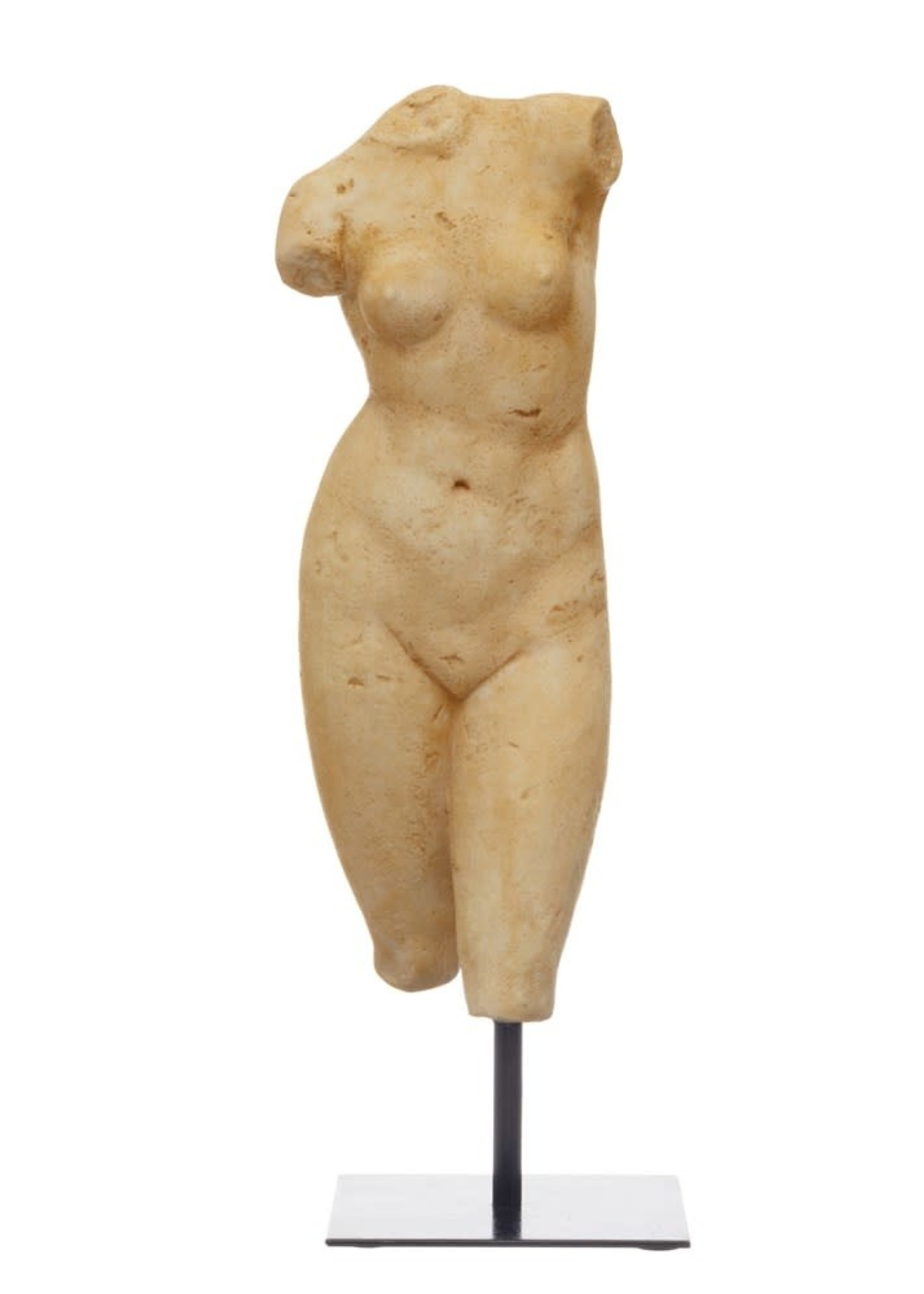 Resin Female Body Figure on Metal Stand, Plaster Finish