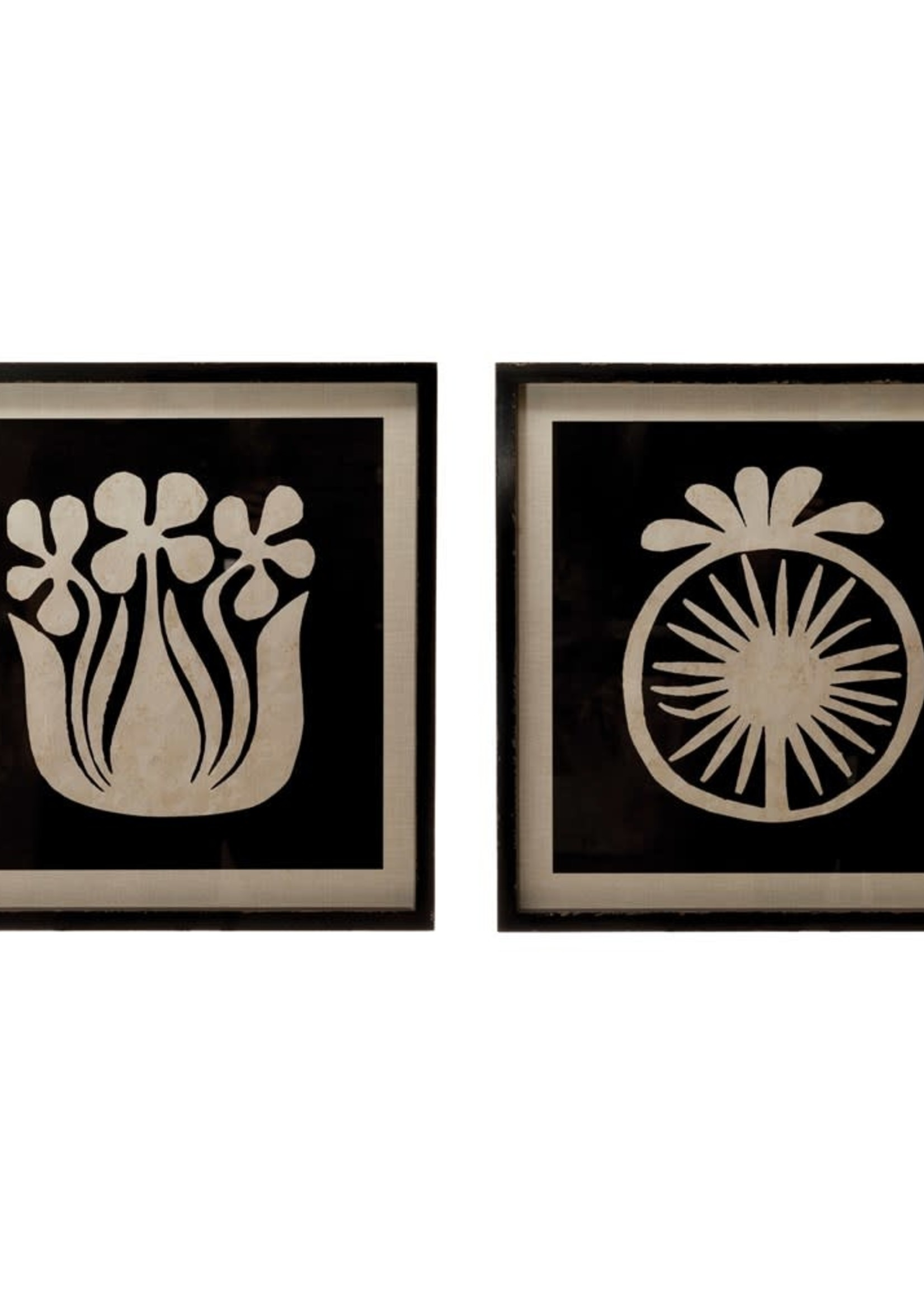 """19-3/4""""W x 19-3/4""""H Wood Framed Wall Decor w/ Abstract Flower, Black & White, 2 Styles"""