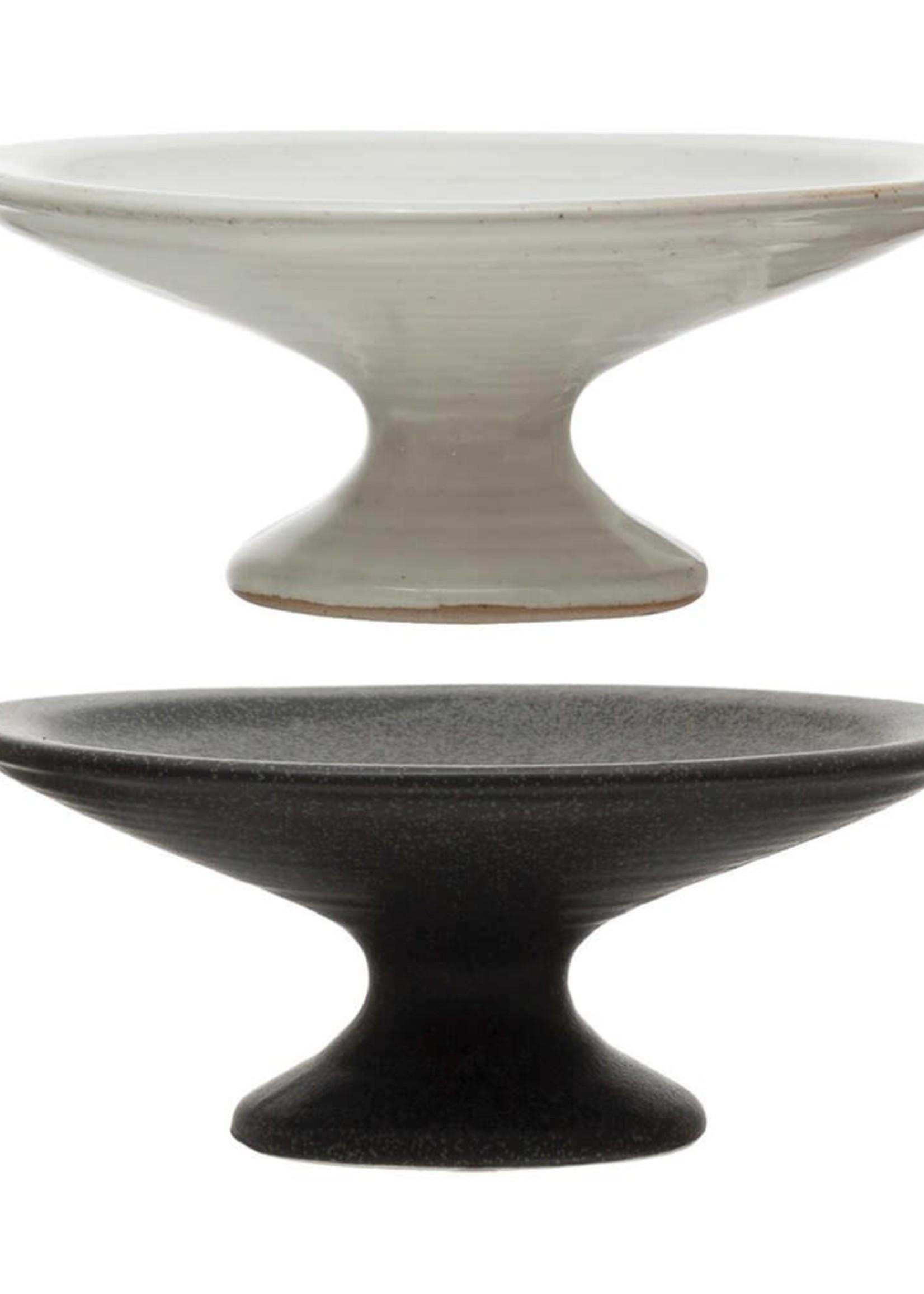 "5-1/2"" Round x 2""H Stoneware Pedestals, Matte Finish, 2 Colors"