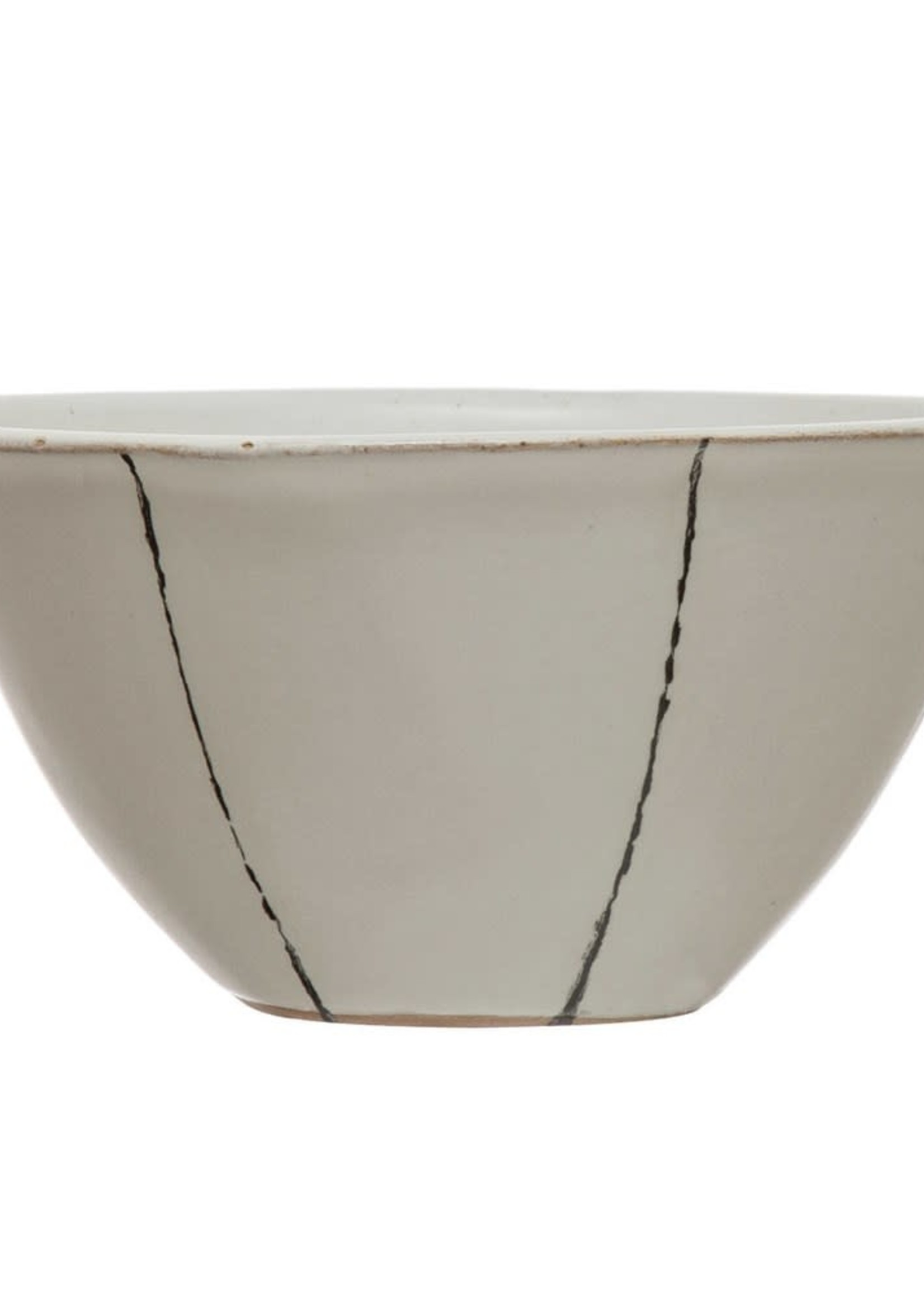 """5"""" Round x 2-1/2""""H Hand-Painted Stoneware Bowl, Matte White w/ Black Stripes (Each One Will Vary)"""