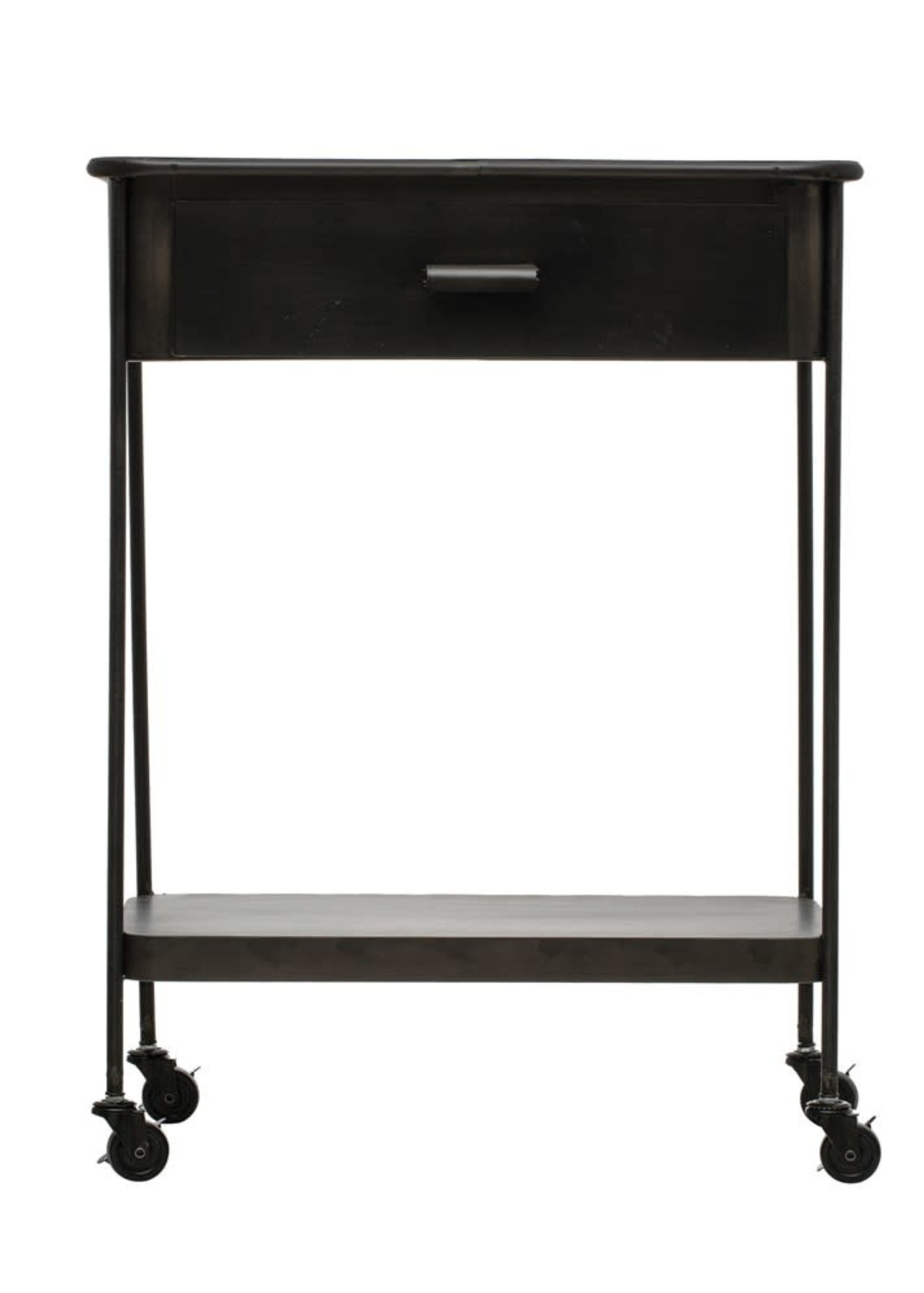 Metal Table on Casters with Drawer & Shelf, Black