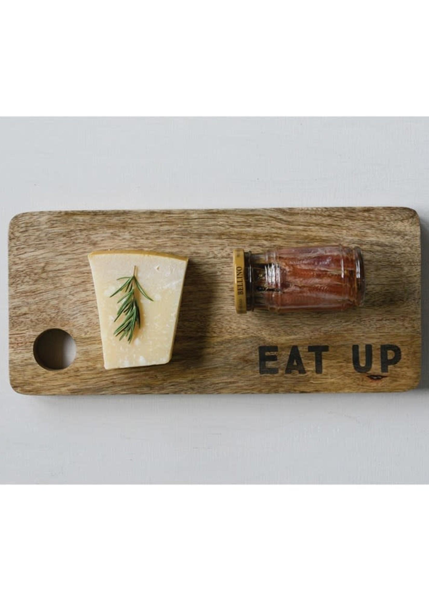 """13""""L x 5-3/4""""W Mango Wood Cutting Board """"Eat Up"""""""