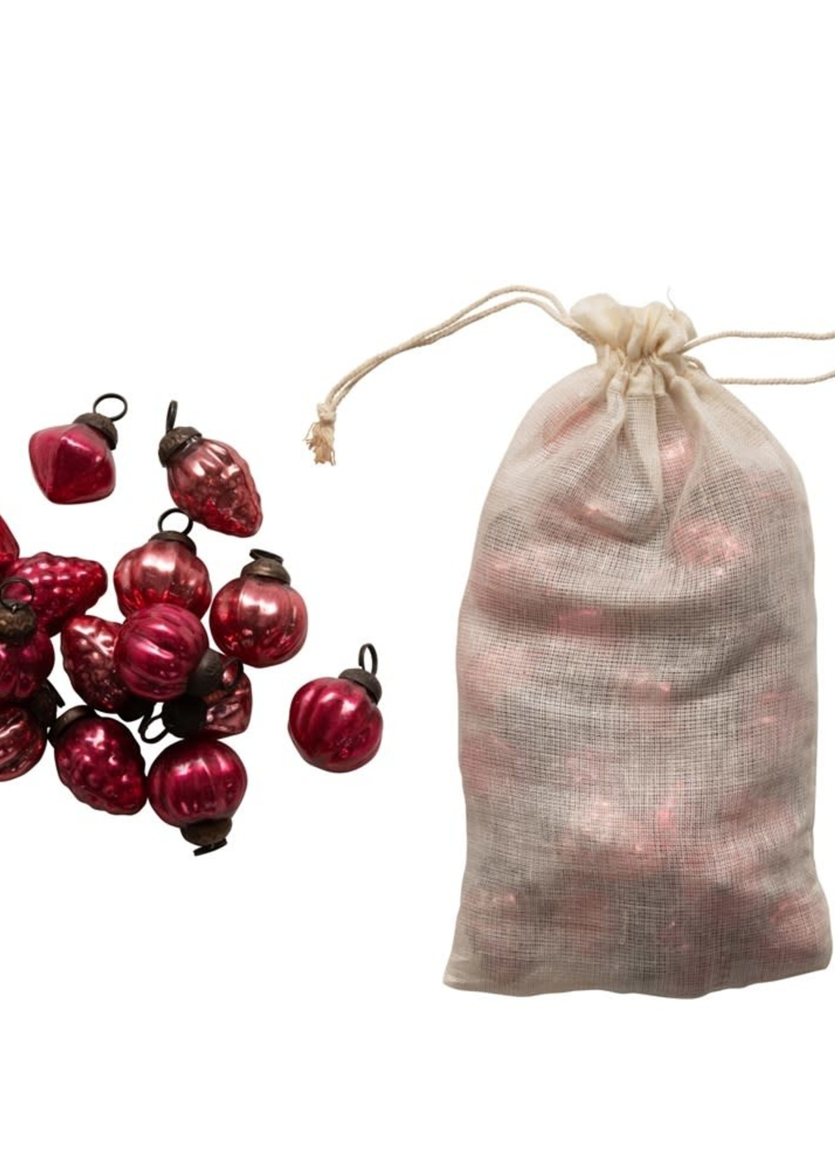 """1""""H Embossed Mercury Glass Ornaments in Organza Bag, Red, Set of 36"""