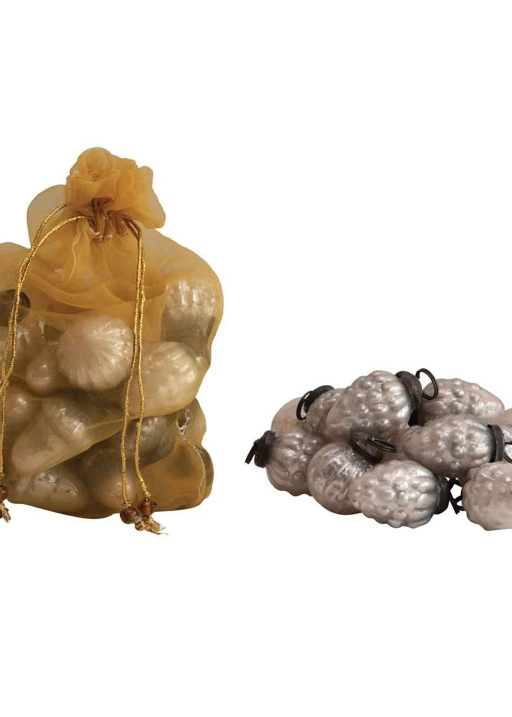 """1""""H Embossed Mercury Glass Ornaments in Organza Bag, White, Set of 36"""