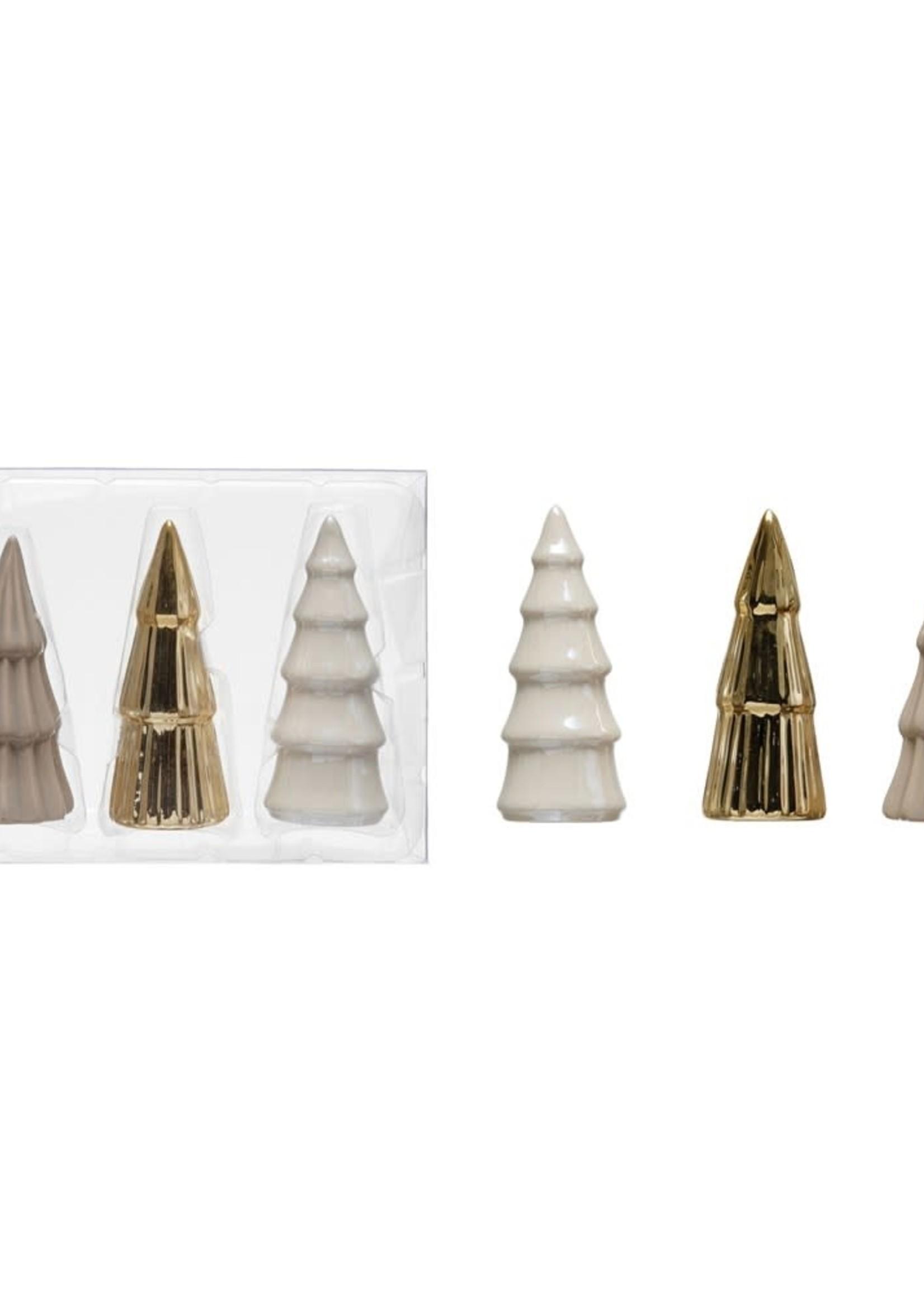 """1-1/2"""" Round x 3-1/4""""H Stoneware Trees, Grey, Gold & White, Boxed Set of 3"""