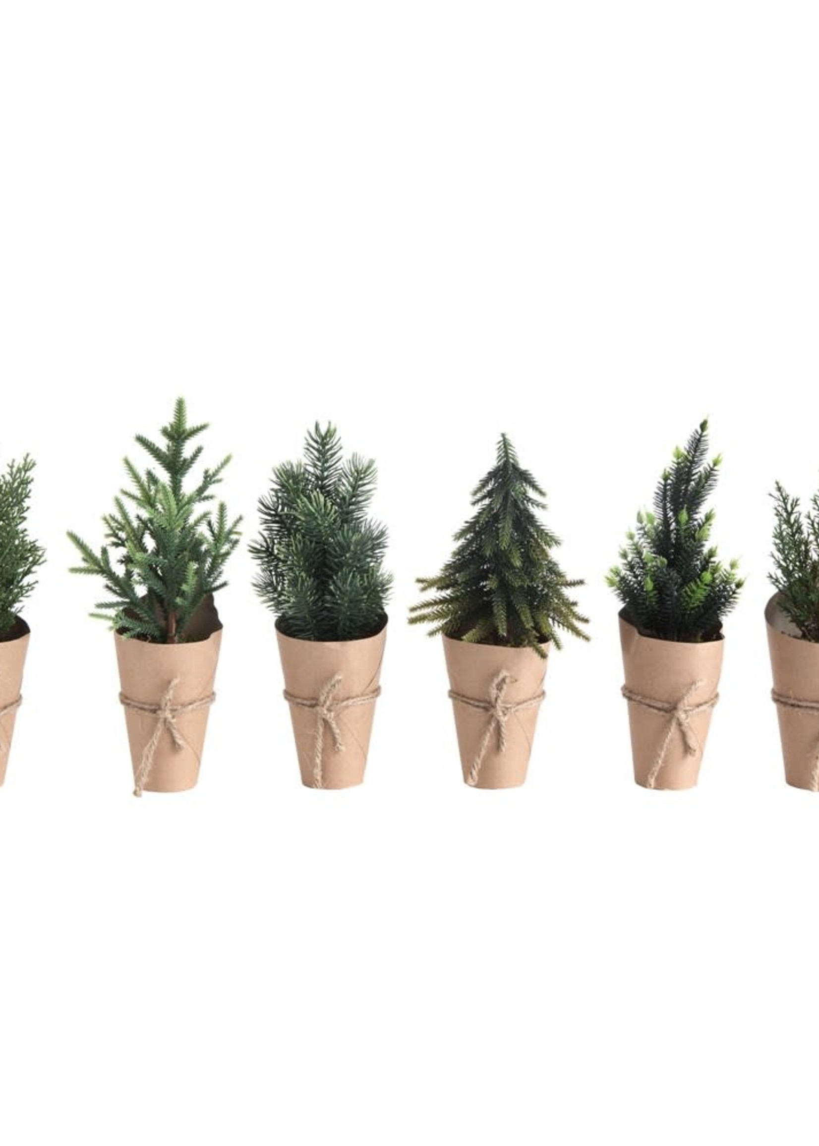 "10-1/4""H Faux Tree w/ Paper Wrapped Pot, 6 Styles"
