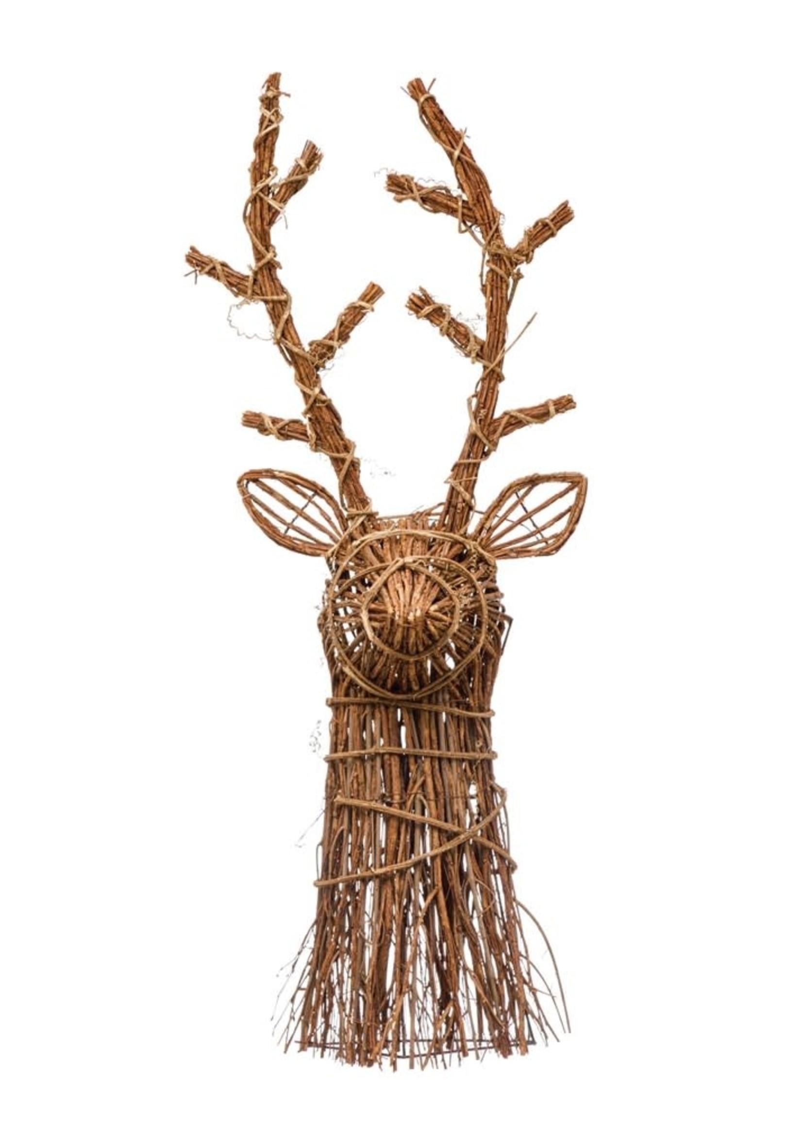 """11-1/2""""W x 8""""D x 33""""H Hand-Woven Rattan Deer Head Wall Dcor, Natural"""