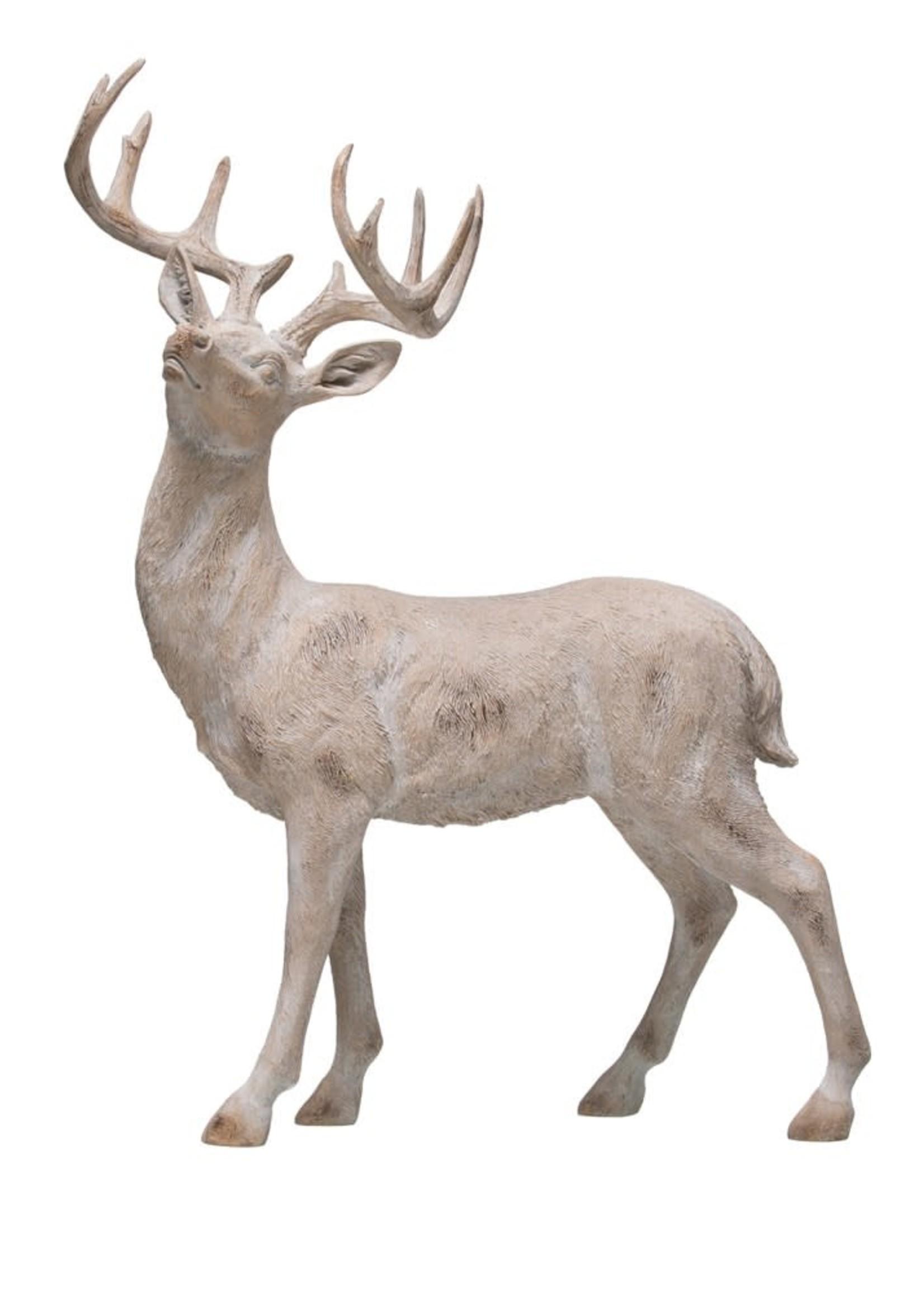 "15-3/4""L x 20-1/2""H Resin Standing Deer, Whitewash Finish"