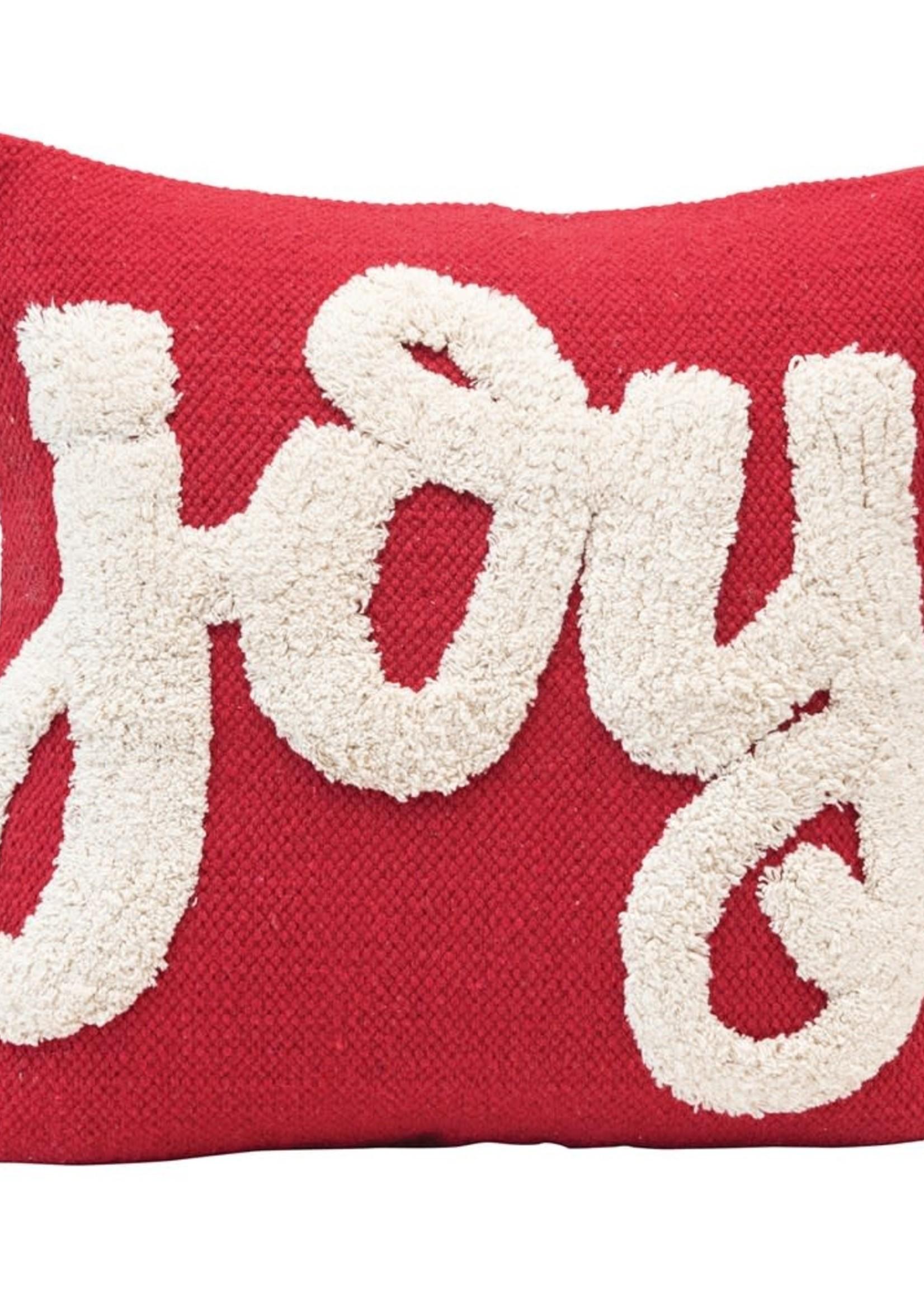 "18"" Square Cotton Tufted Pillow ""Joy"", Red & White"