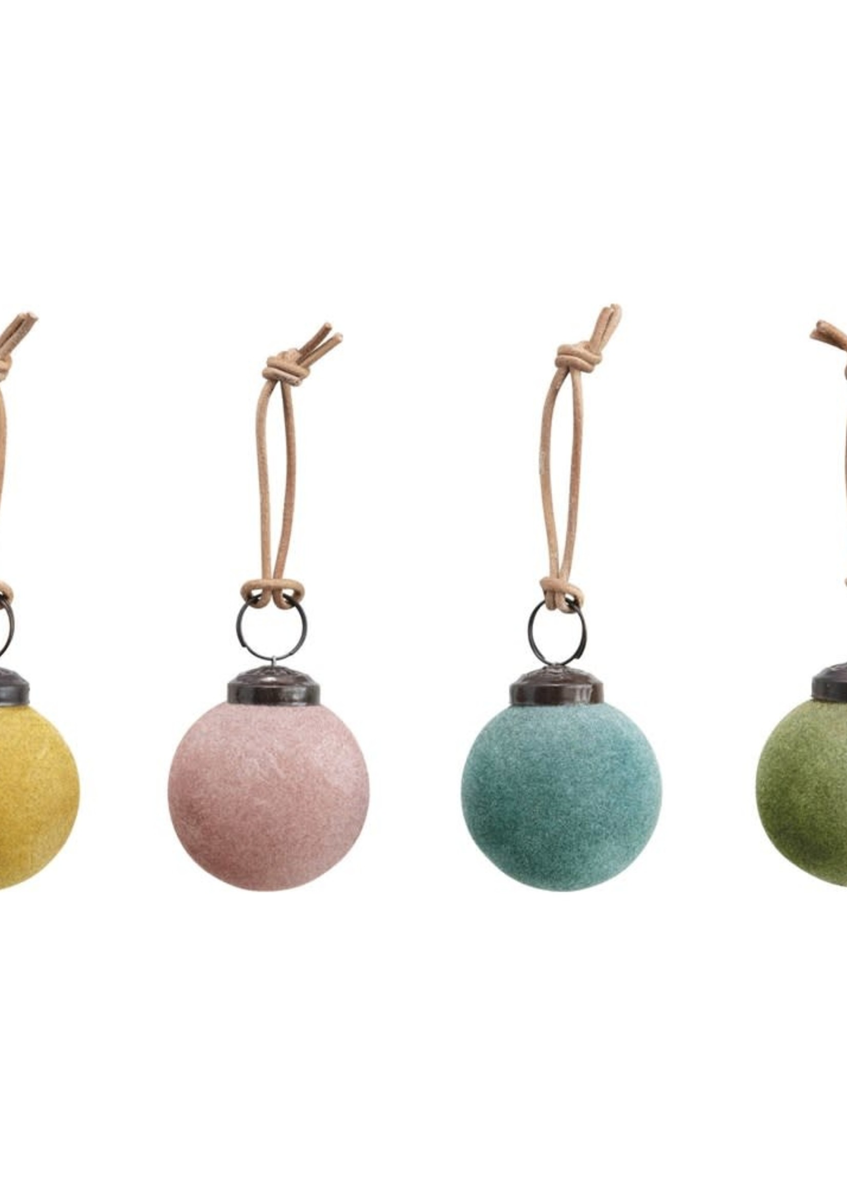 """2"""" Round Flocked Glass Ball Ornament, 4 Colors"""