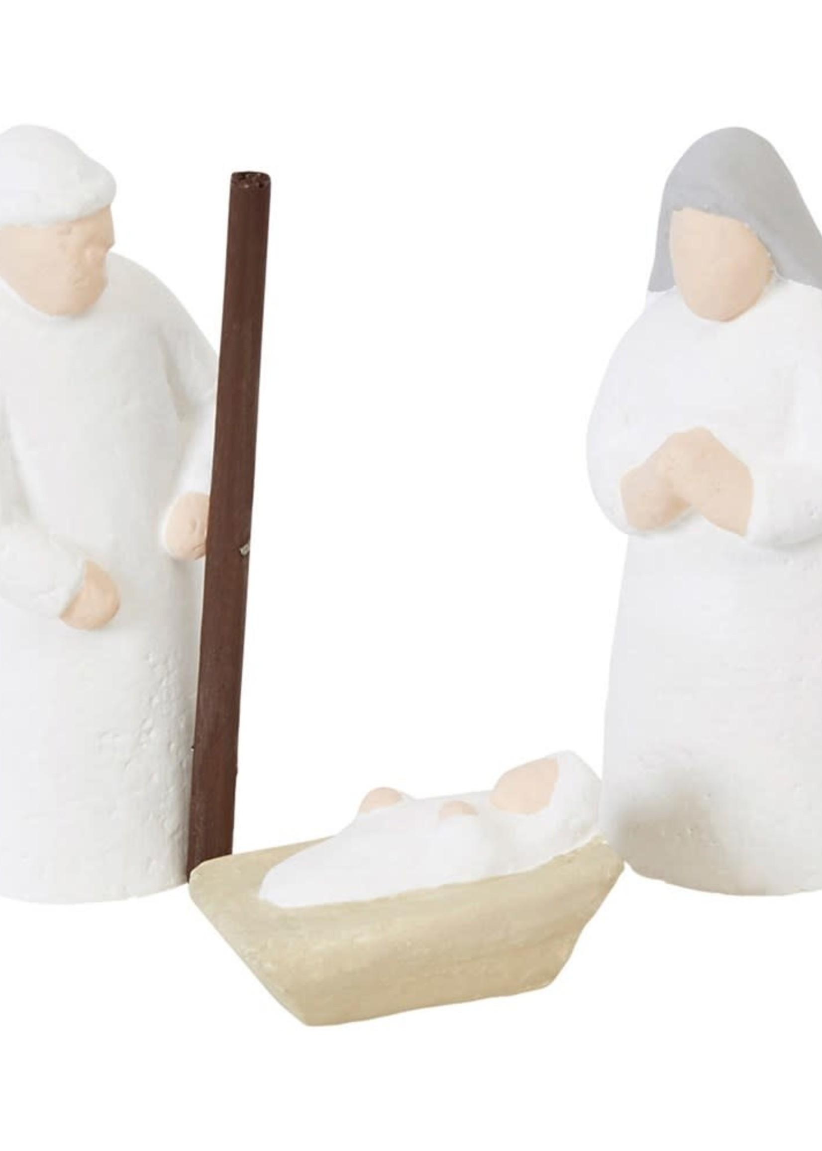 "2"" Round x 4""H Handmade Paper Mache Holy Family, Set of 3"