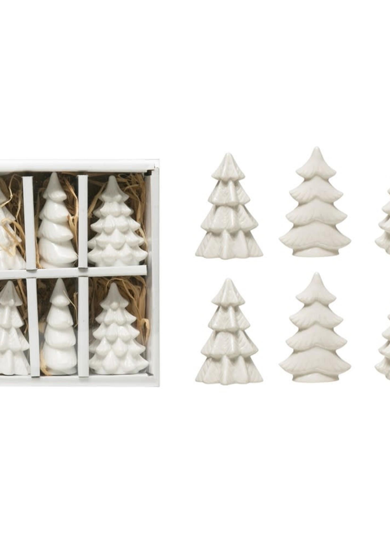"""2-1/2""""H Stoneware Trees, White, Boxed Set of 6"""