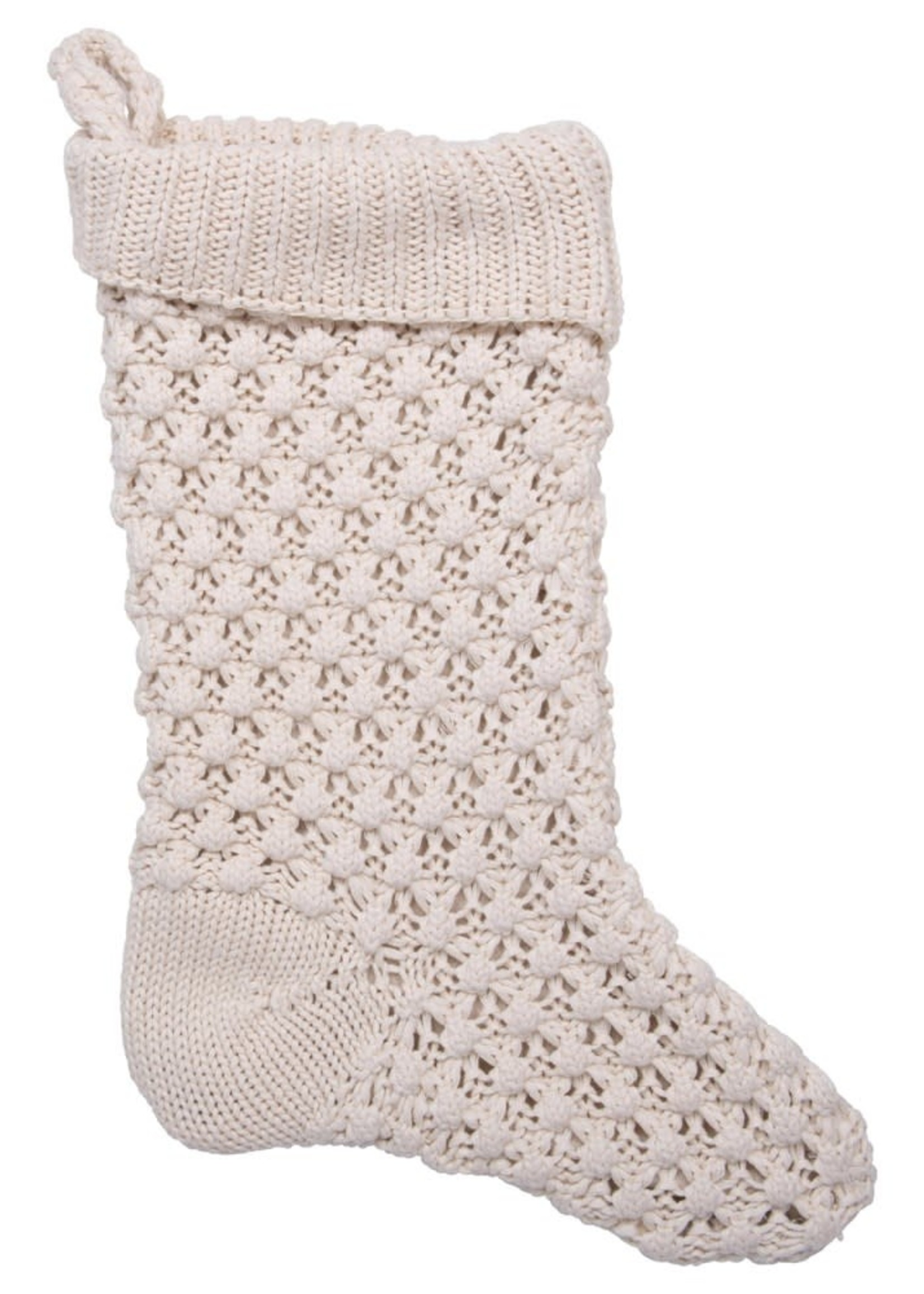 Cotton Knit Stocking, Cream Color