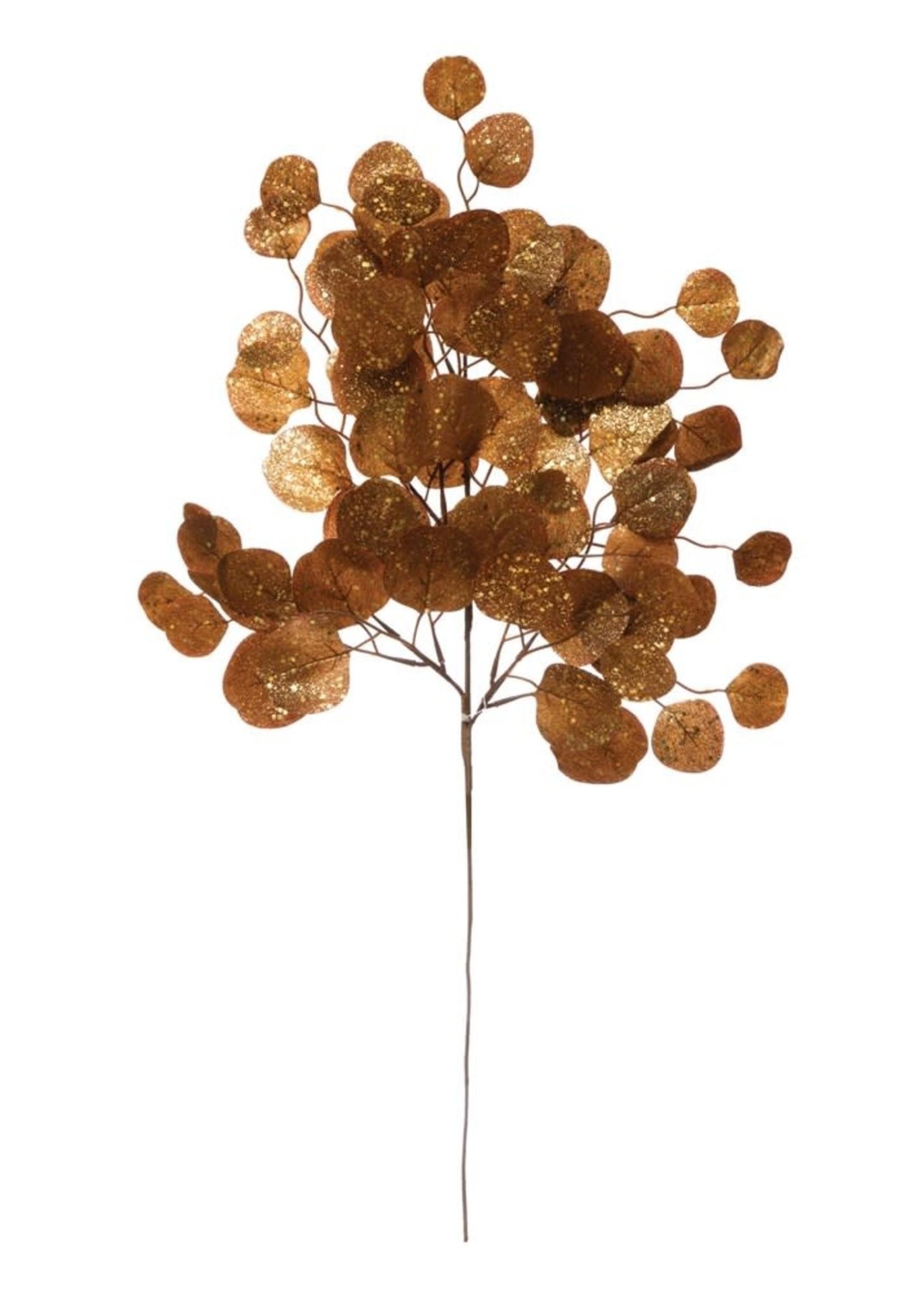 """28-1/2""""H Faux Eucalyptus Leaf Spray w/ Glitter, Gold Finish"""
