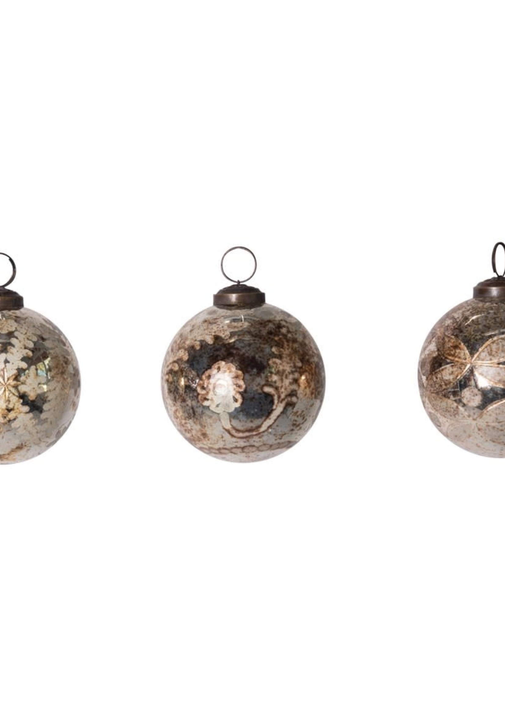 """3"""" Round Etched Mercury Glass Ball Ornament, Antique Silver, 3 Styles"""