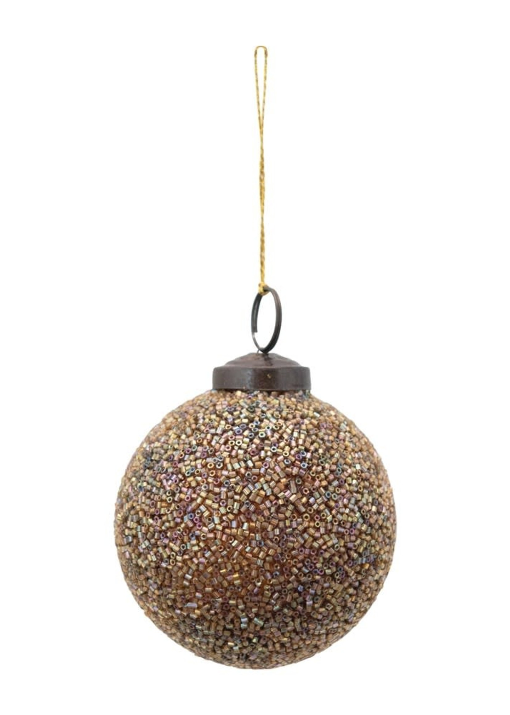 """3"""" Round Glass Ball Ornament w/ Glass Seed Beads, Iridescent Gold Color"""