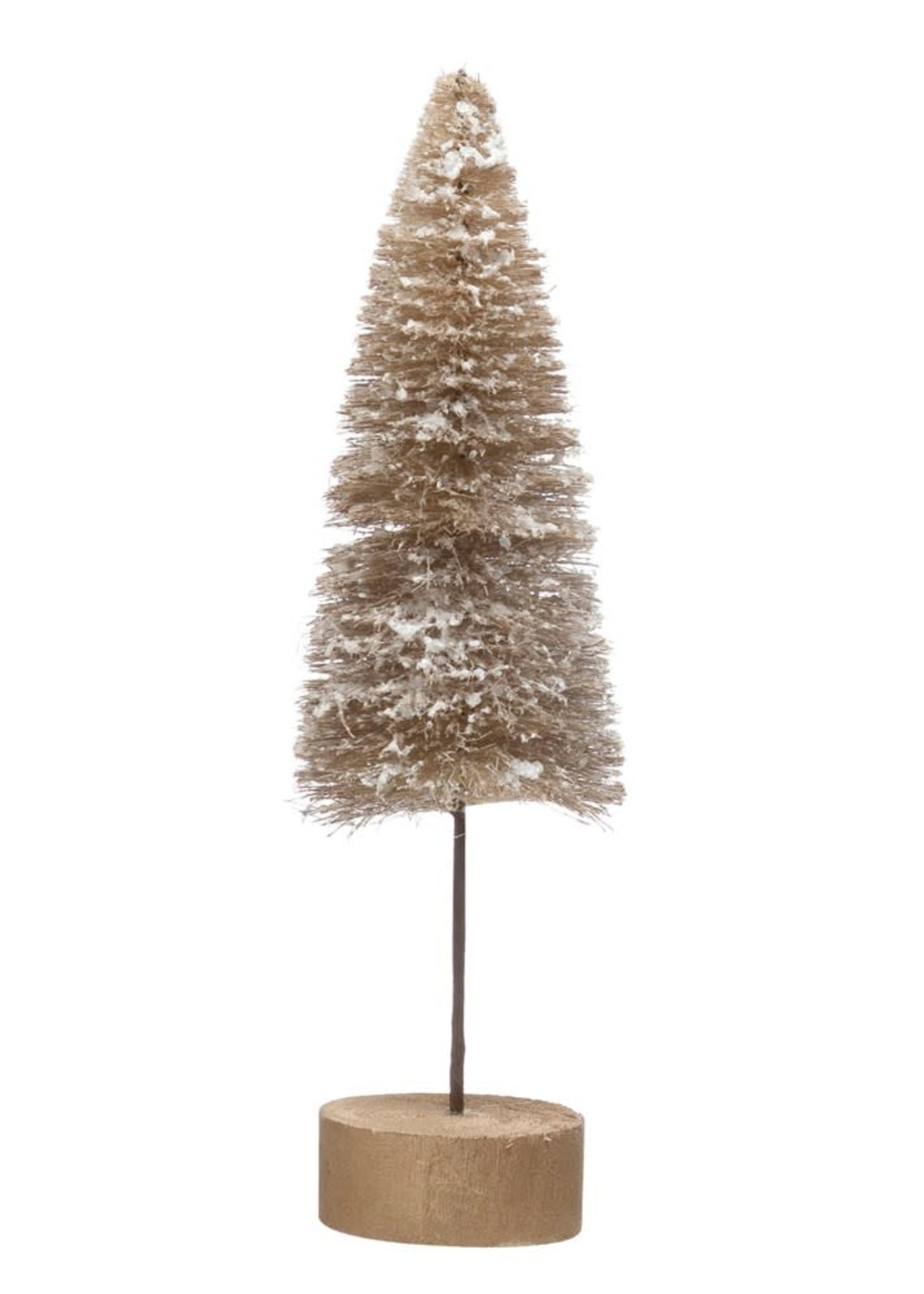 "3-1/2"" Round x 11-3/4""H Sisal Bottle Brush Tree w/ Faux Snow & Wood Base, Tan Color"