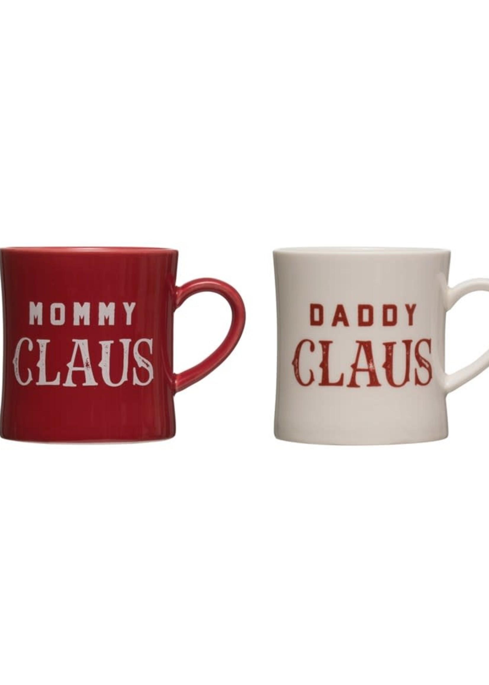 "3-1/2"" Round x 4""H 16 oz. Stoneware Mug, 2 Styles ""Mommy/Daddy Claus"