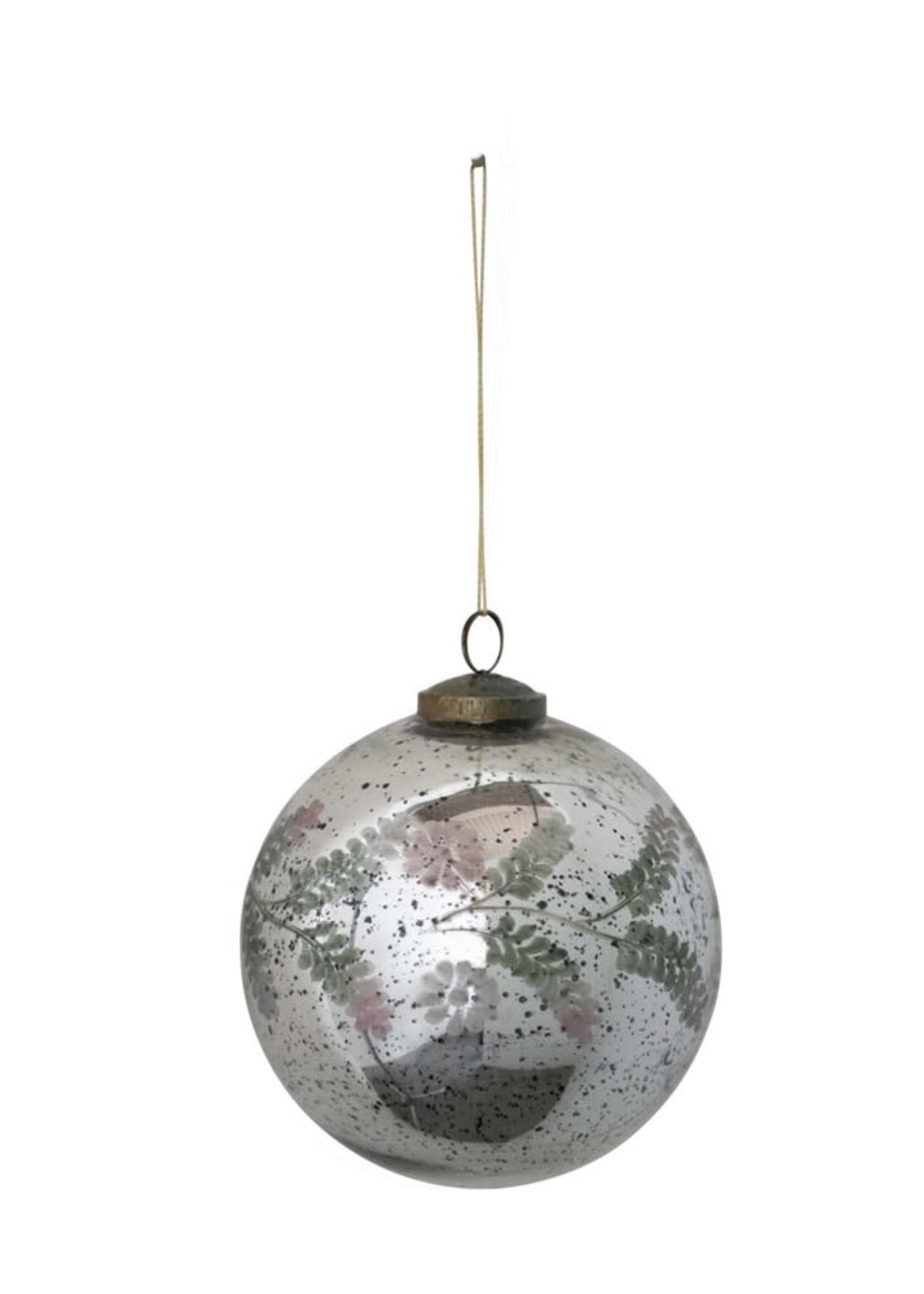 """4"""" Round Etched Mercury Glass Ball Ornament w/ Floral Pattern, Silver, Pink & Green"""