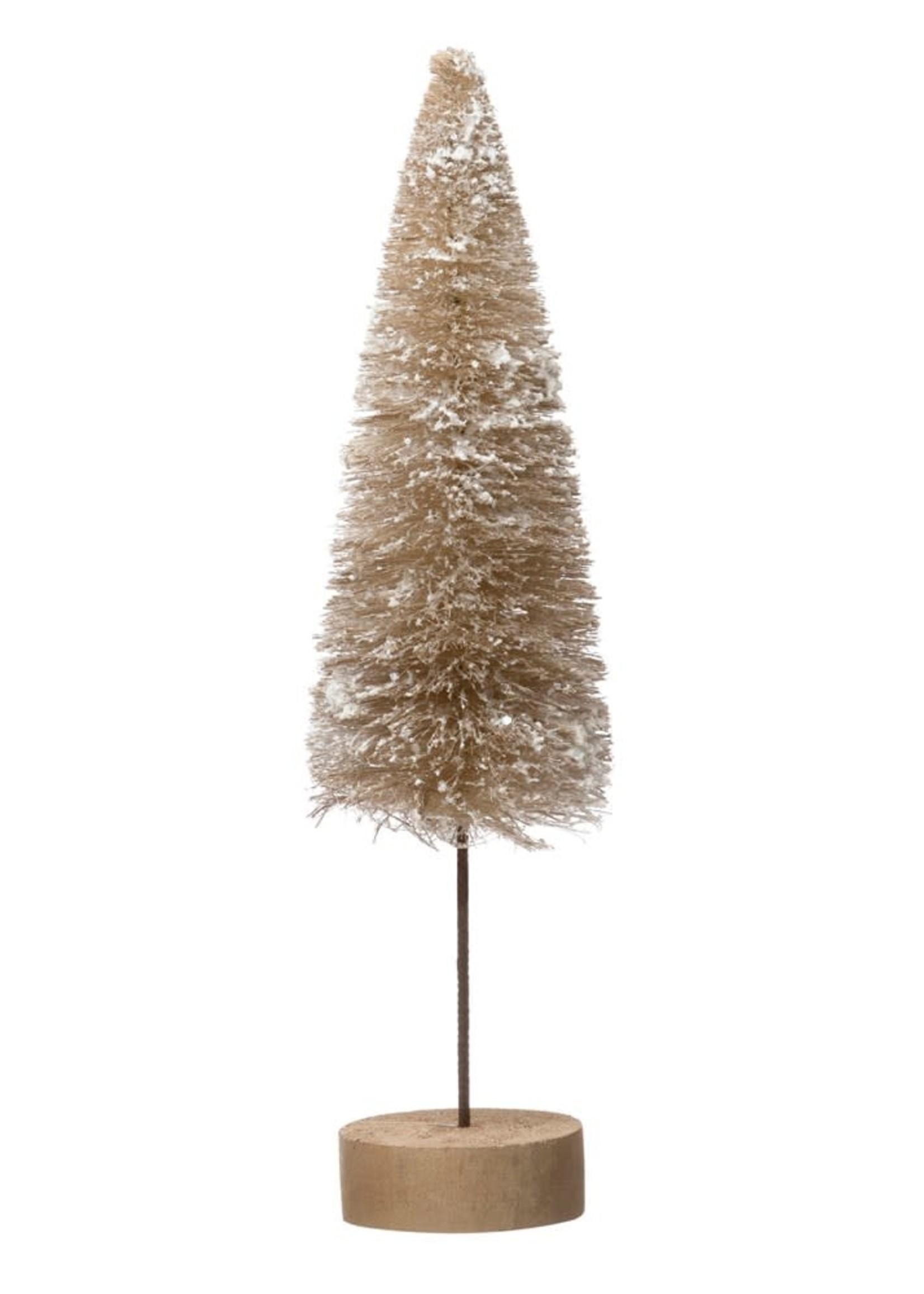 "4"" Round x 16""H Sisal Bottle Brush Tree w/ Faux Snow & Wood Base, Tan Color"