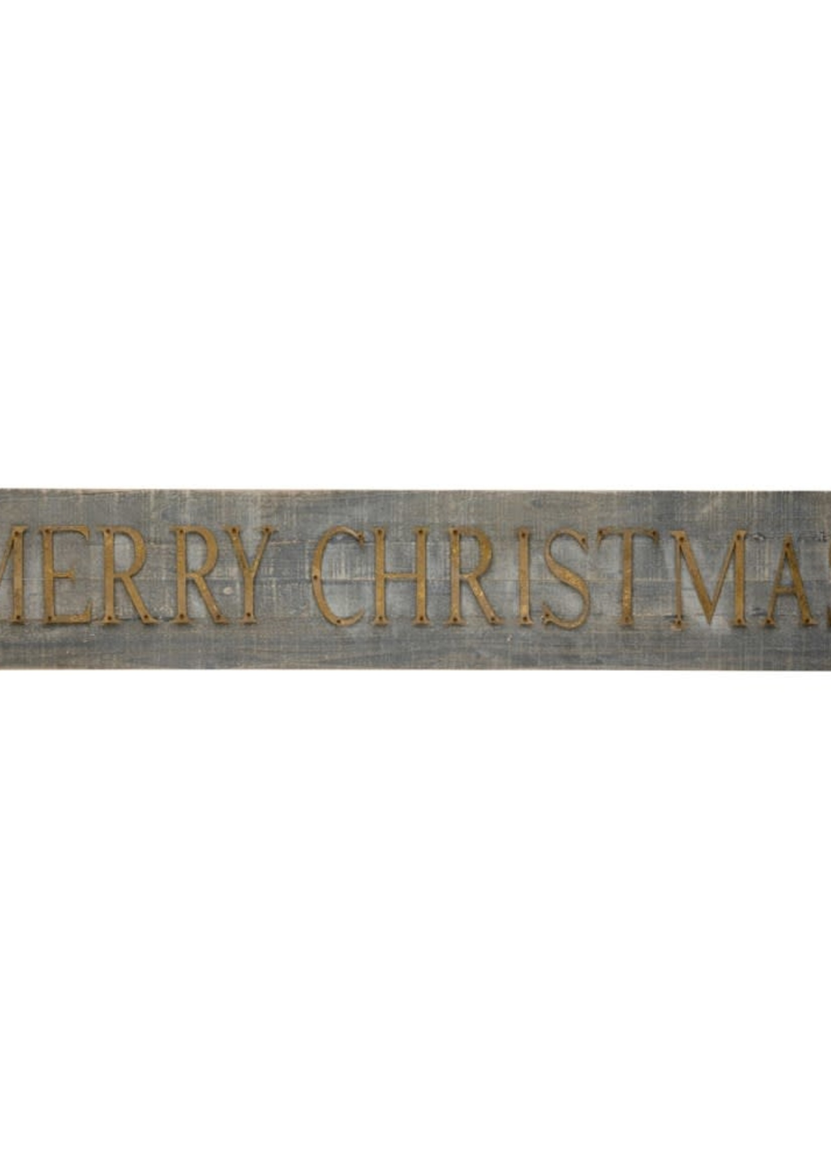 """44-1/2""""W x 7-3/4""""H Wood & Metal Wall Dcor """"Merry Christmas"""", Distressed Finish"""