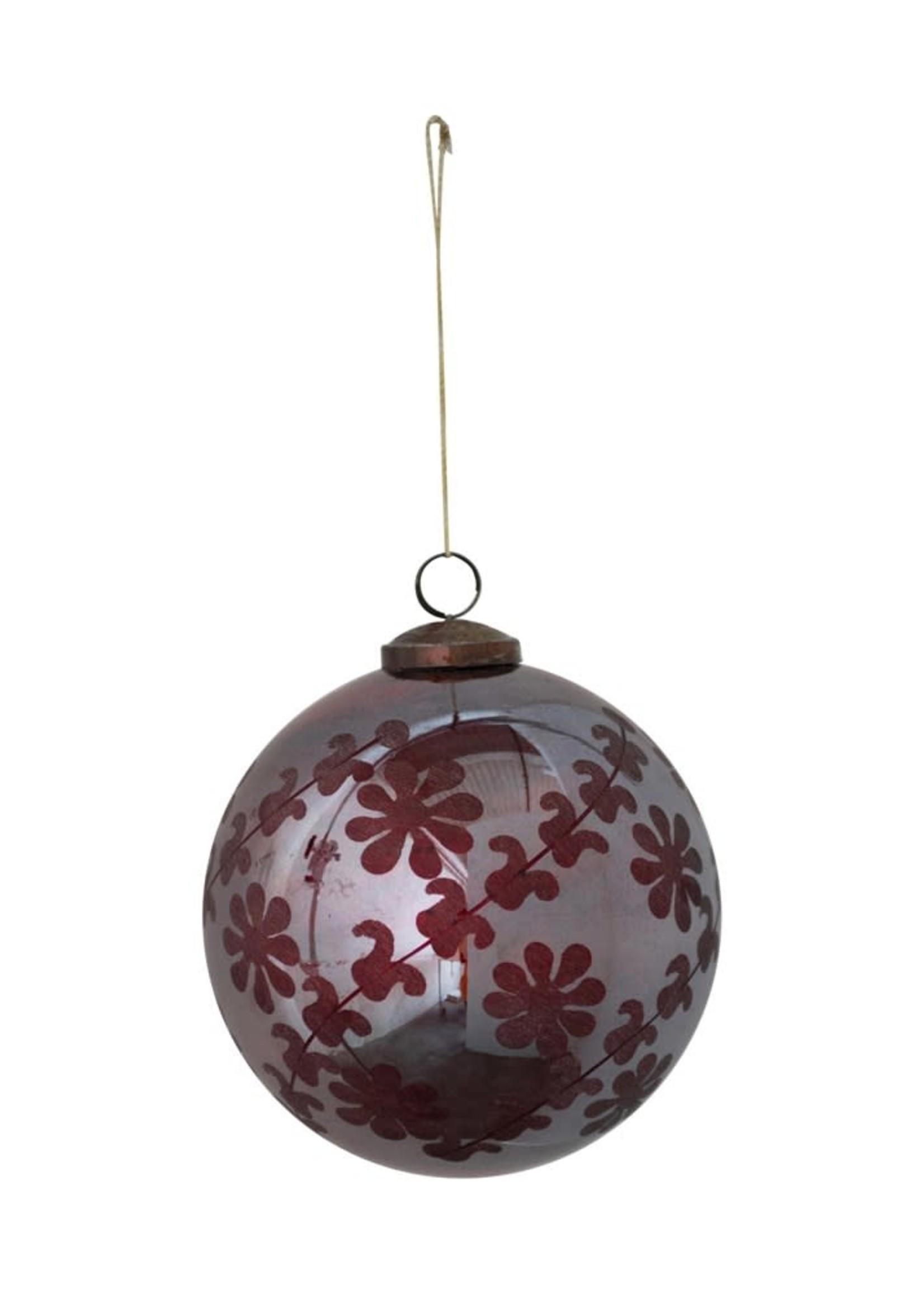 "5"" Round Etched Mercury Glass Ball Ornament, Iridescent Burgundy"