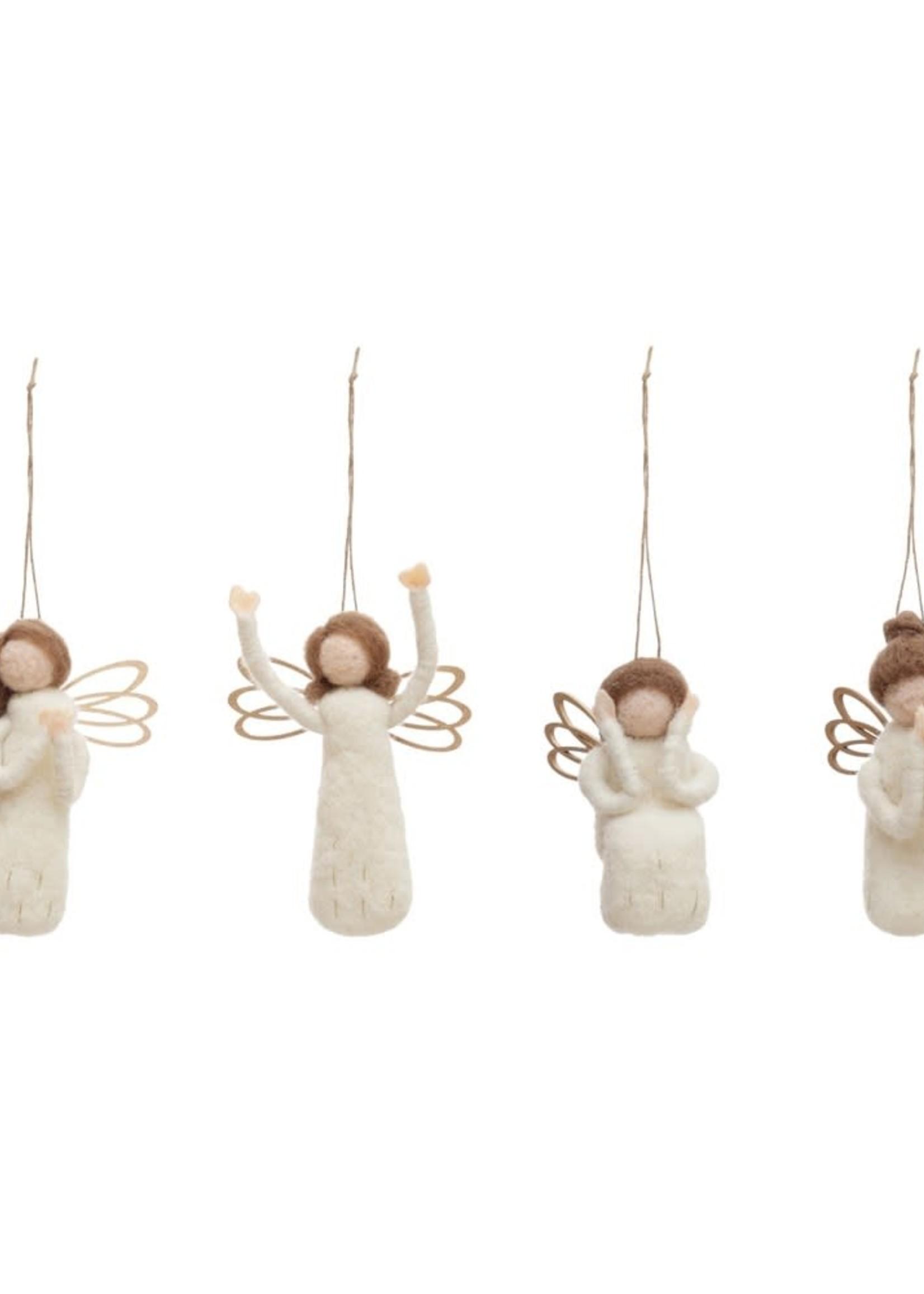 "5-1/4""H Wool Felt Angel Ornament, 4 Styles"