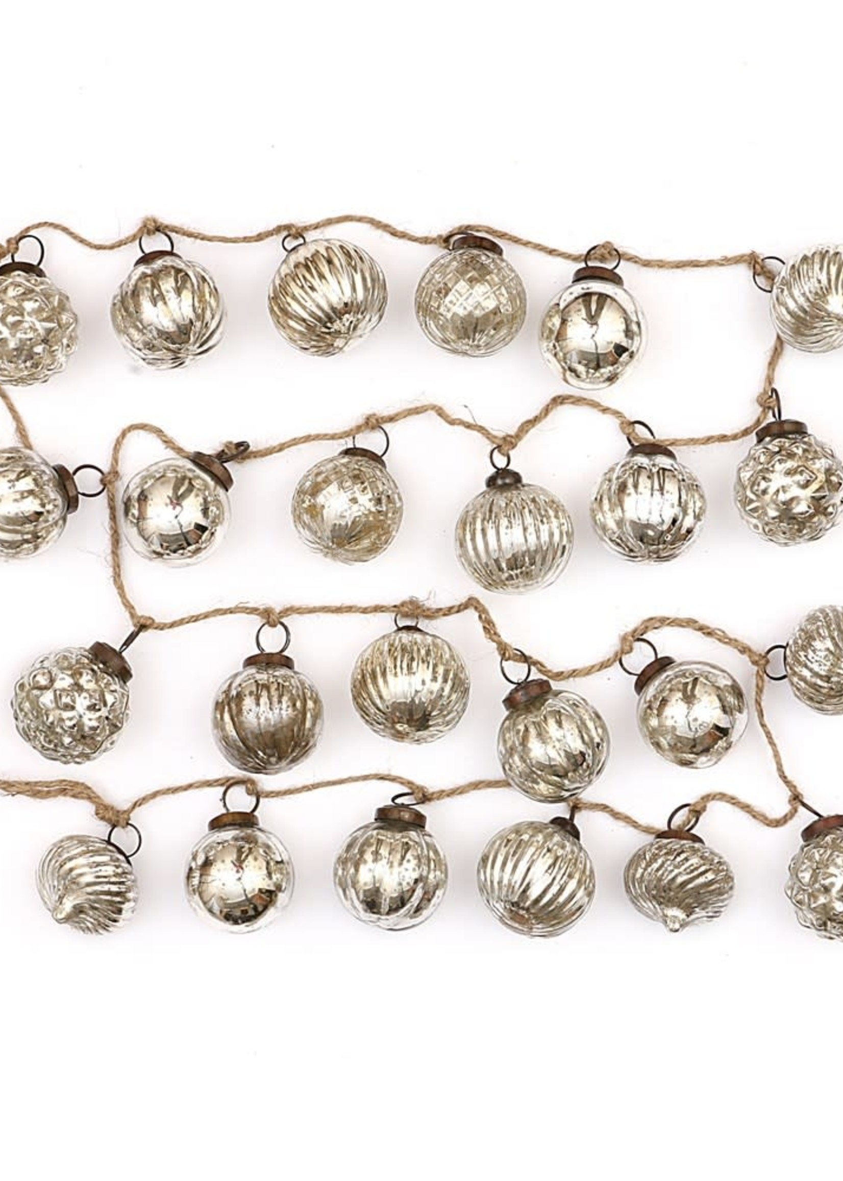 Embossed Mercury Glass Ornament Garland, Antique Silver Finish