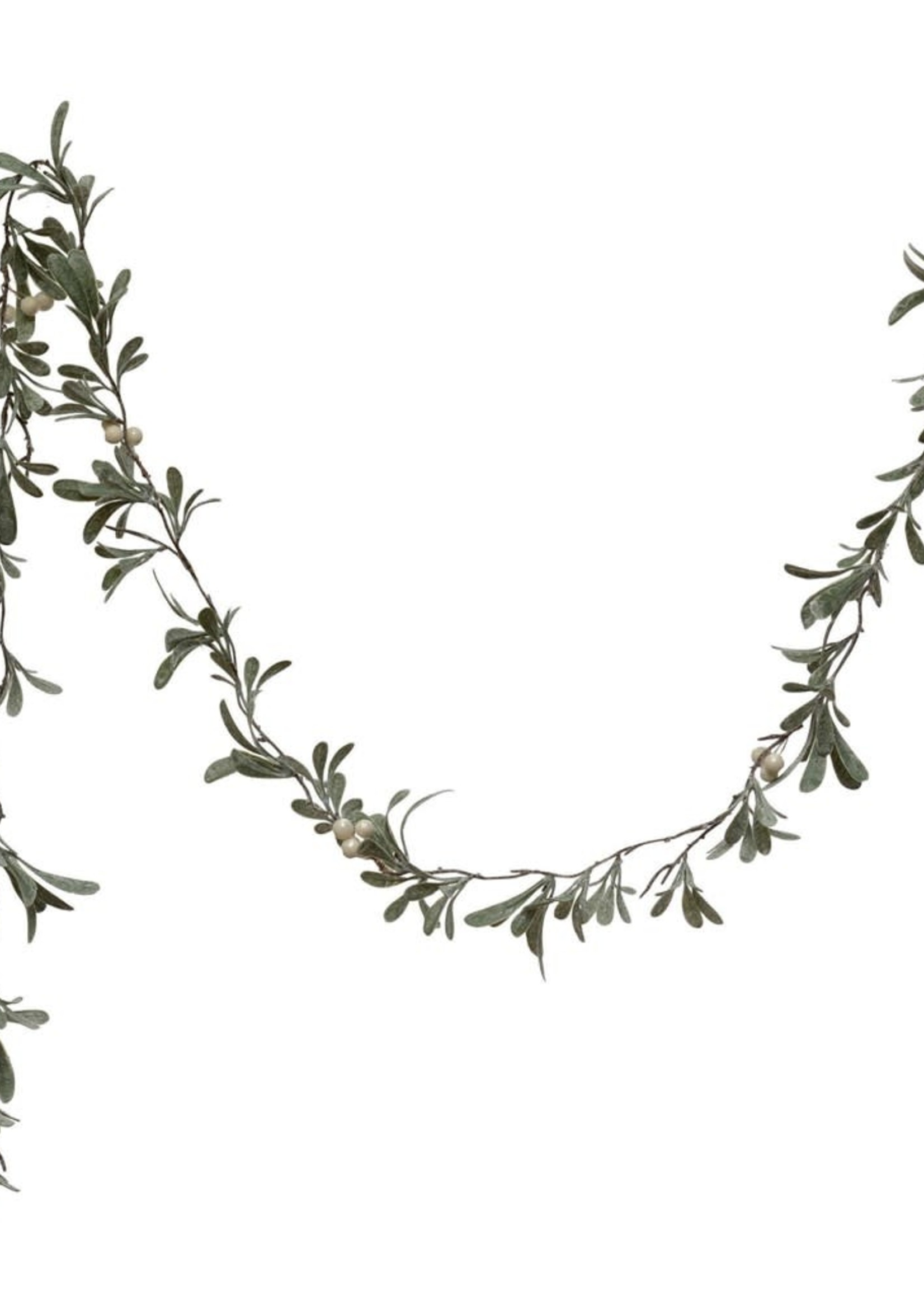"72""L Faux Mistletoe Garland w/ Cream Color Berries, Snow Finish"