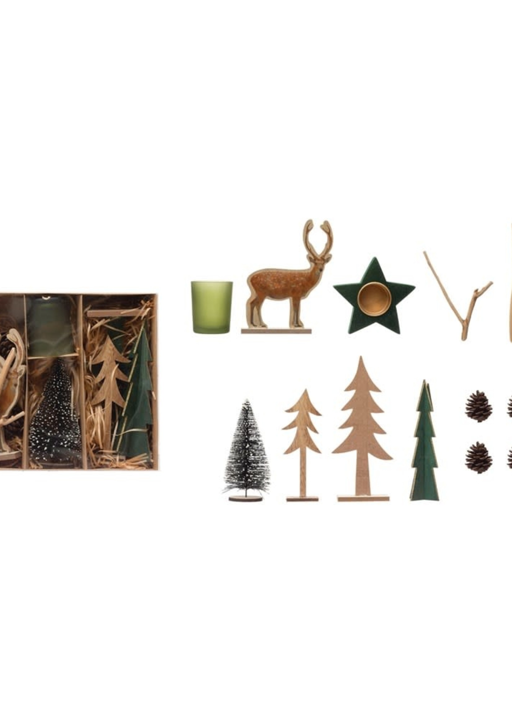 Candle Garden Kit w/ Bottle Brush Tree, Pinecones, Tealights, Laser Cut Figures & Twigs, Boxed Set of 12