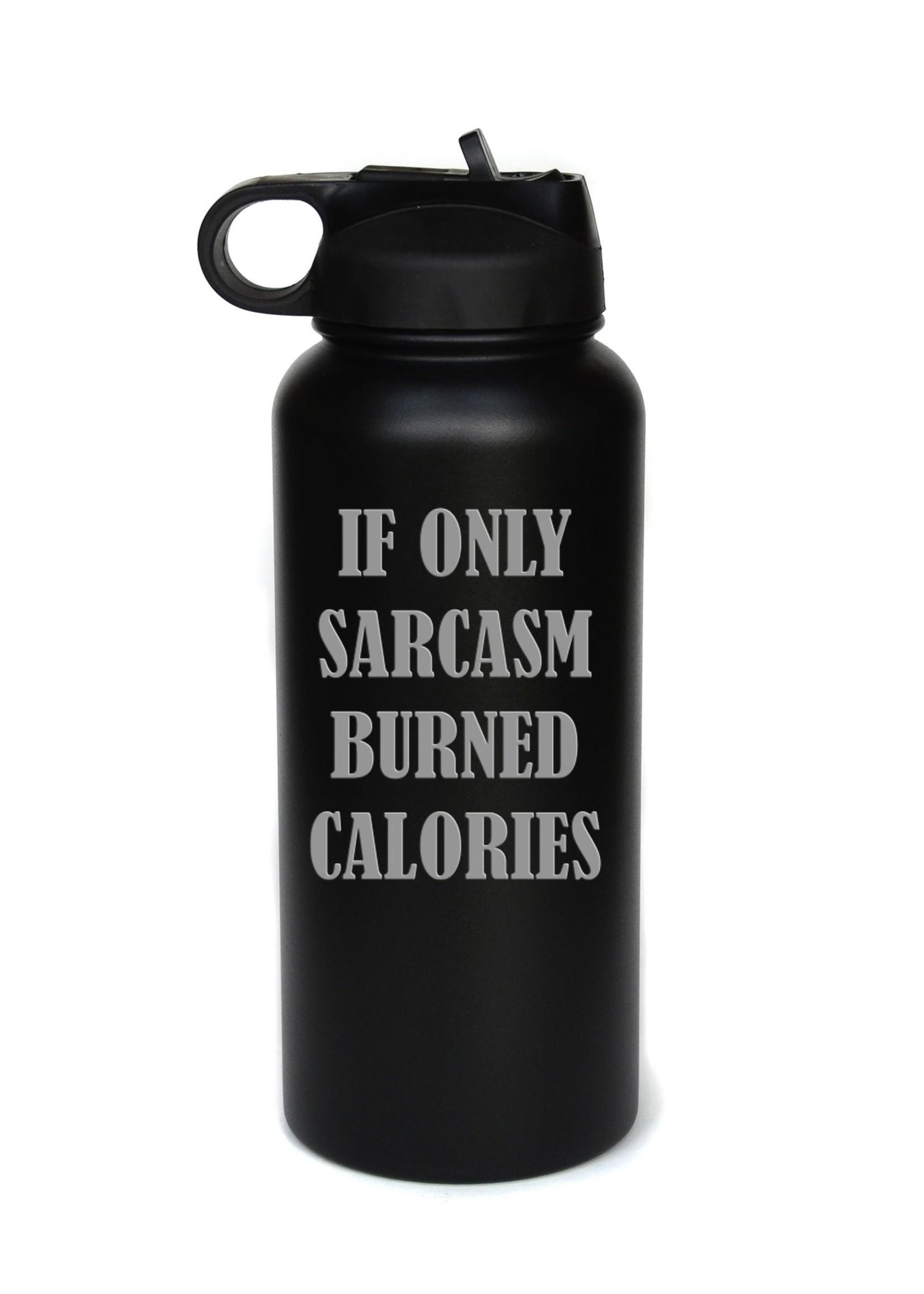 32 oz. Engraved Water Bottle - Sarcasm - White
