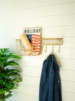 Wire Wall Shelf with Basket and Hooks