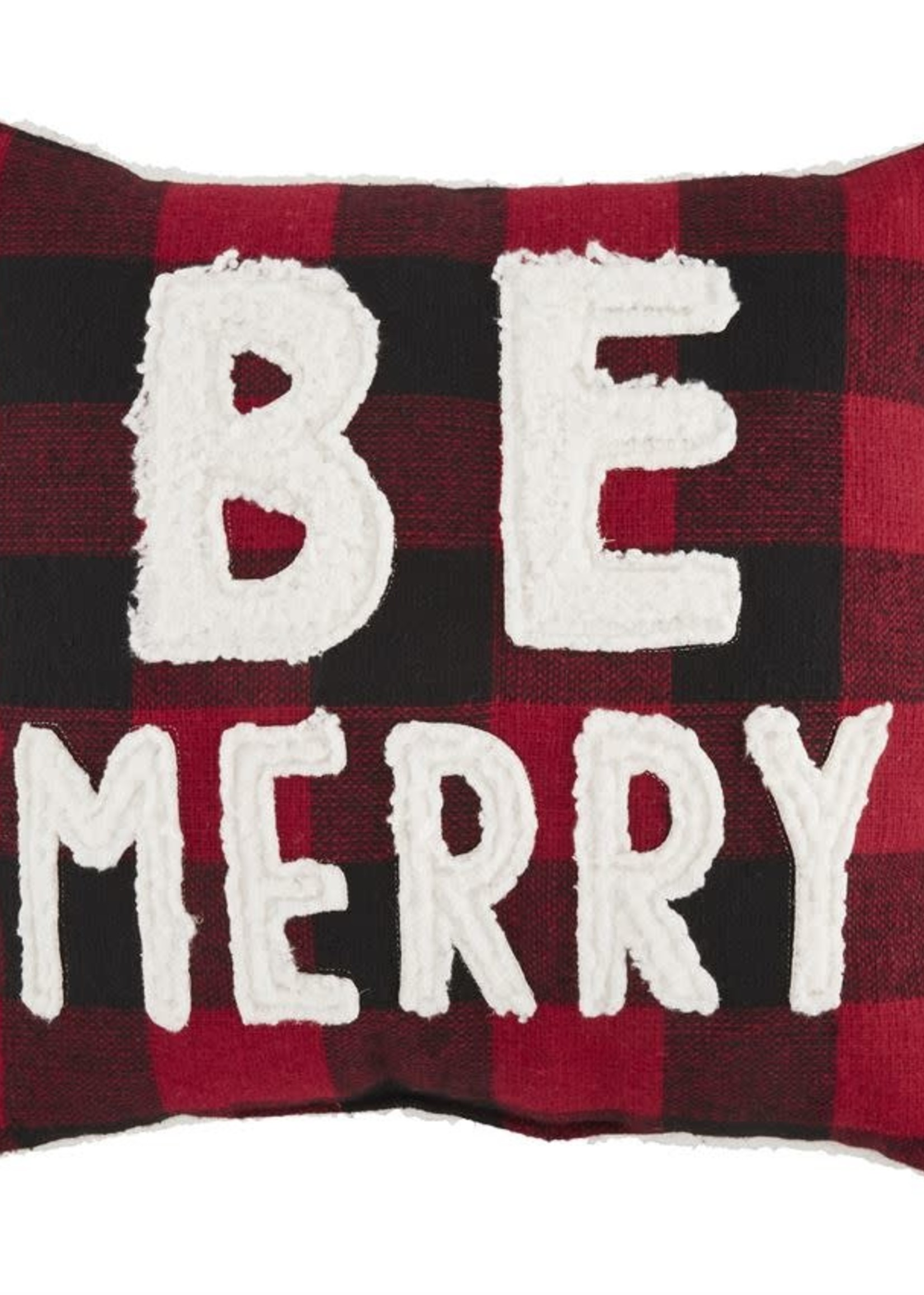 BE MERRY CHECK FUZZY PILLOW