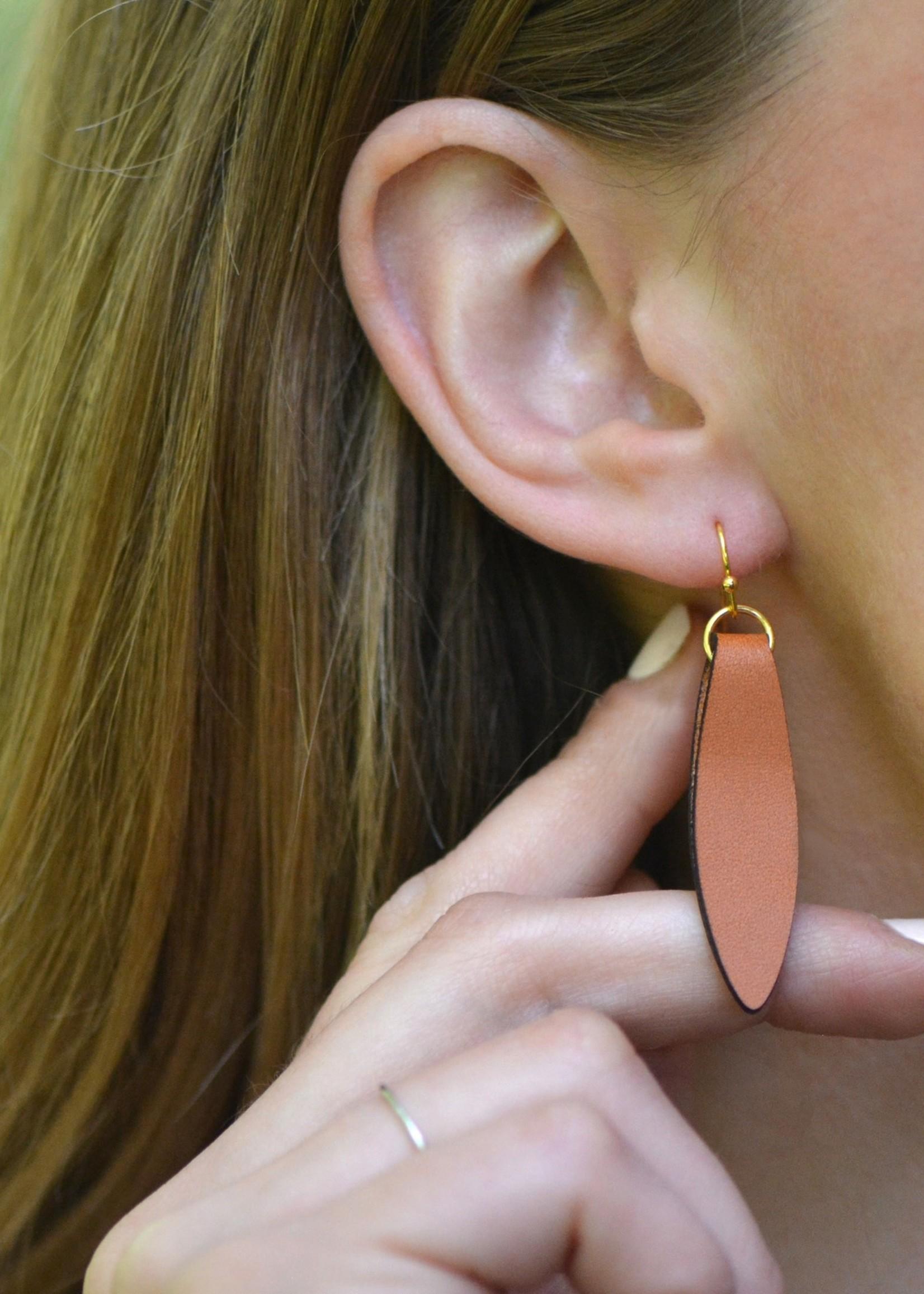 Long Leather Earrings - Brown