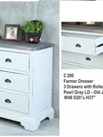 "Farmer Dresser 3Drawers w/RG 48x20.1x37""H"