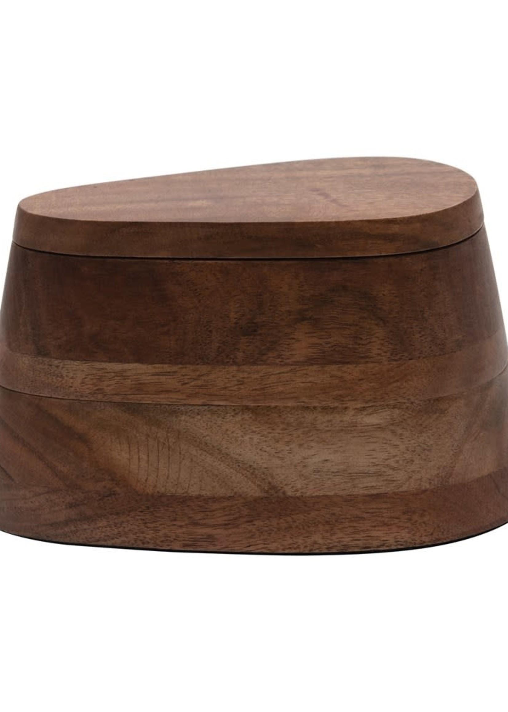 Acacia Wood 2-Tier Salt & Pepper Dish w/ Lid
