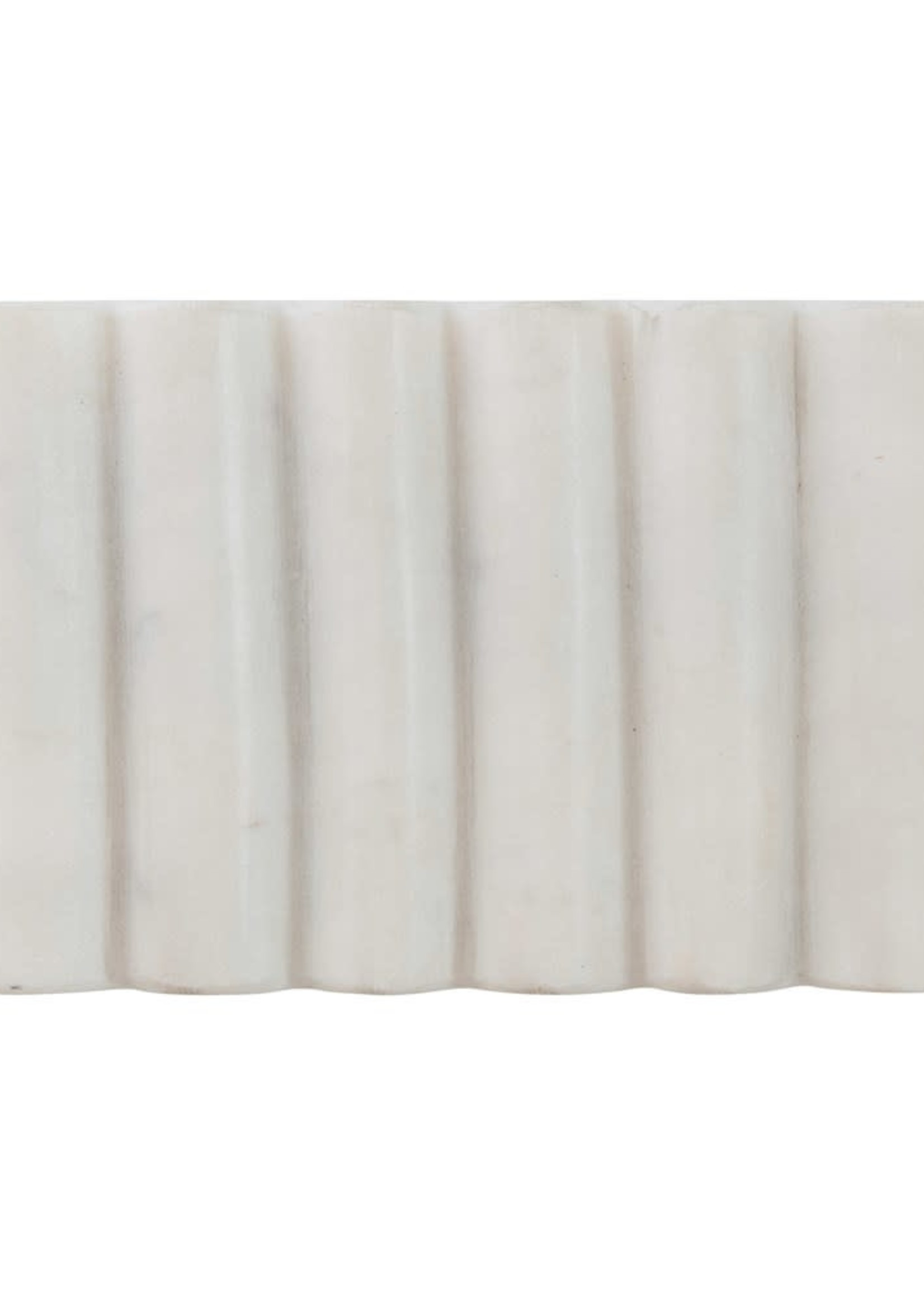 Carved Marble Soap Dish, White