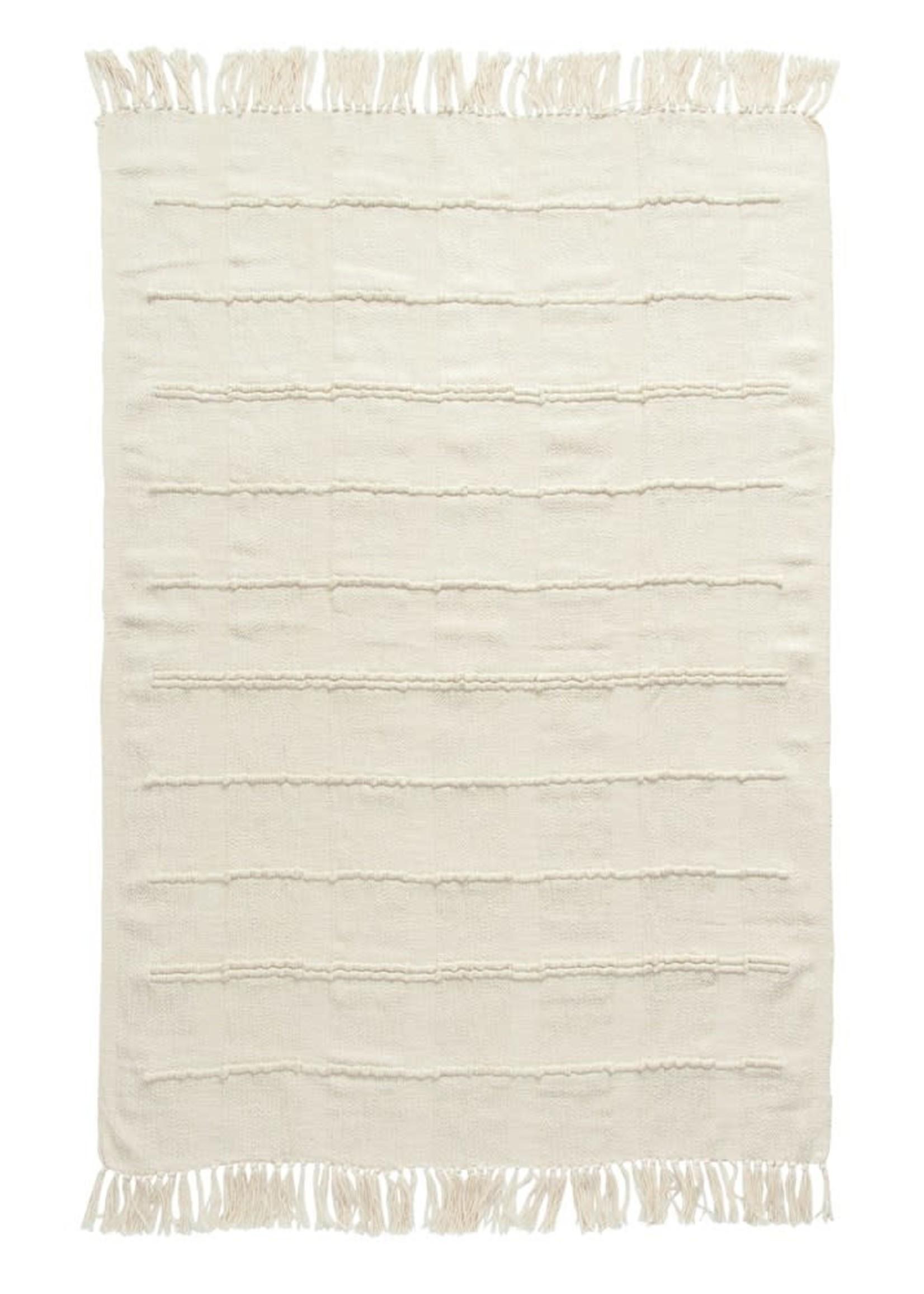 Cotton Blend Chenille Throw, Cream Color