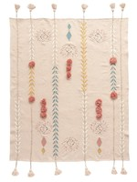 Cotton Embroidered Throw w/ Tassels & Applique, Pink