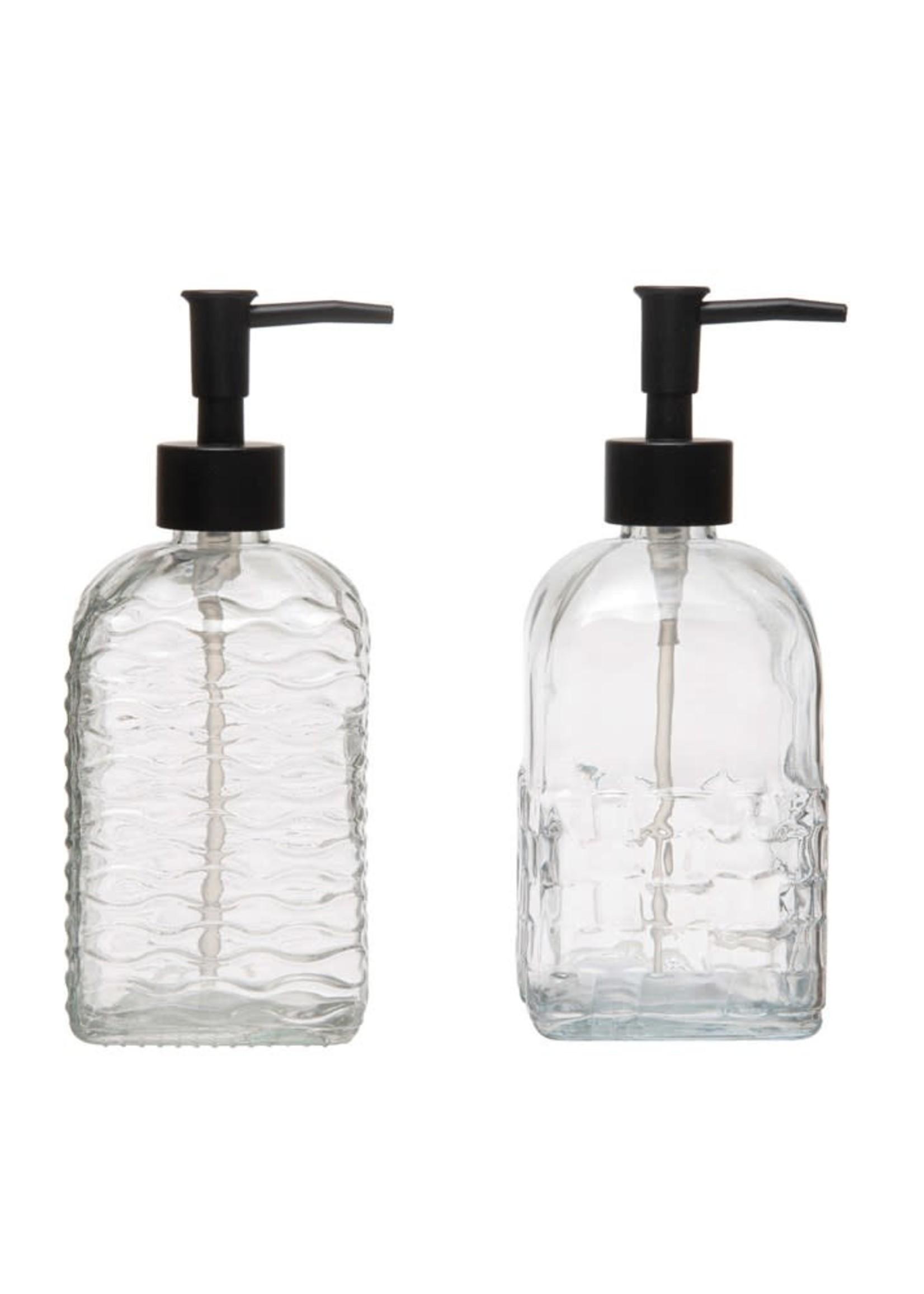 Embossed Glass Soap Dispenser w/ Pump, 2 Styles