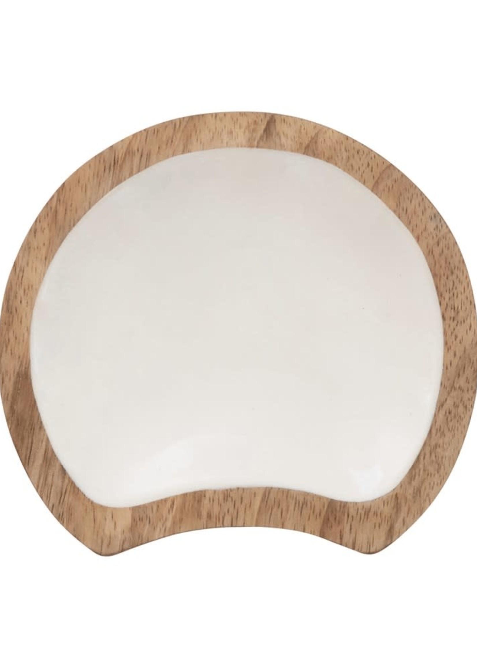 Enameled Mango Wood Spoon Rest, White