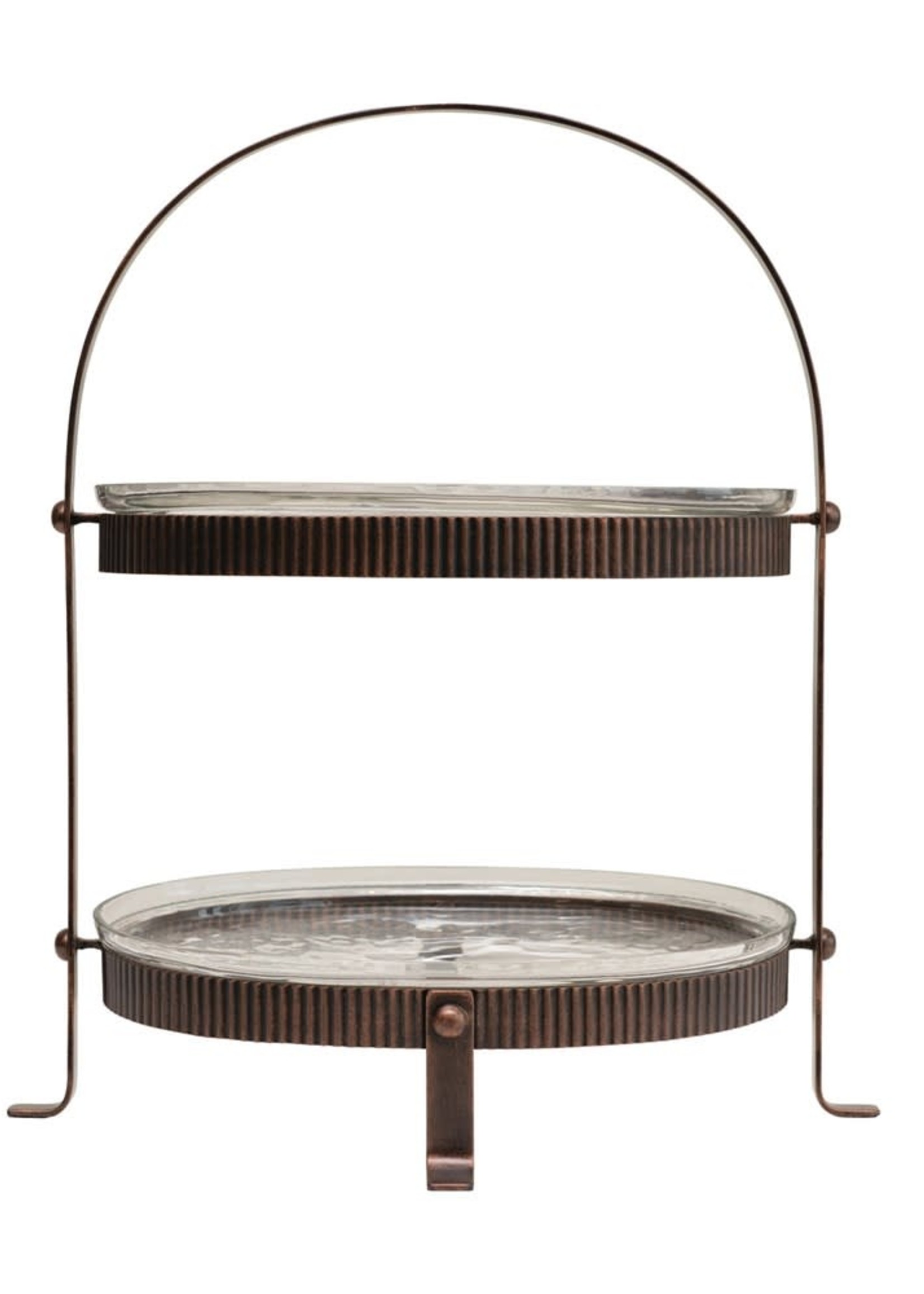 Metal Oval 2-Tier Stand with 2 Glass Trays, Bronze Finish, Set of 3