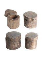 Round Reclaimed Wood Container w/ Magnetic Lid - Each Varies