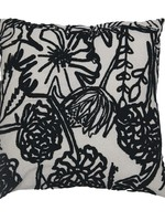 Square Cotton & Linen Blend Embroidered Pillow w/ Embroidered Floral Pattern, Cream Color & Black